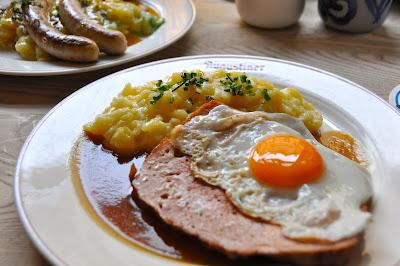 Leberkase (kind of like meatloaf) & potato salad for lunch. Yet another *light* meal.