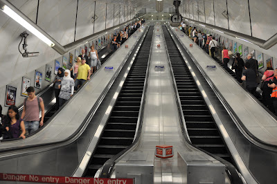 looking up the stairs in the tube