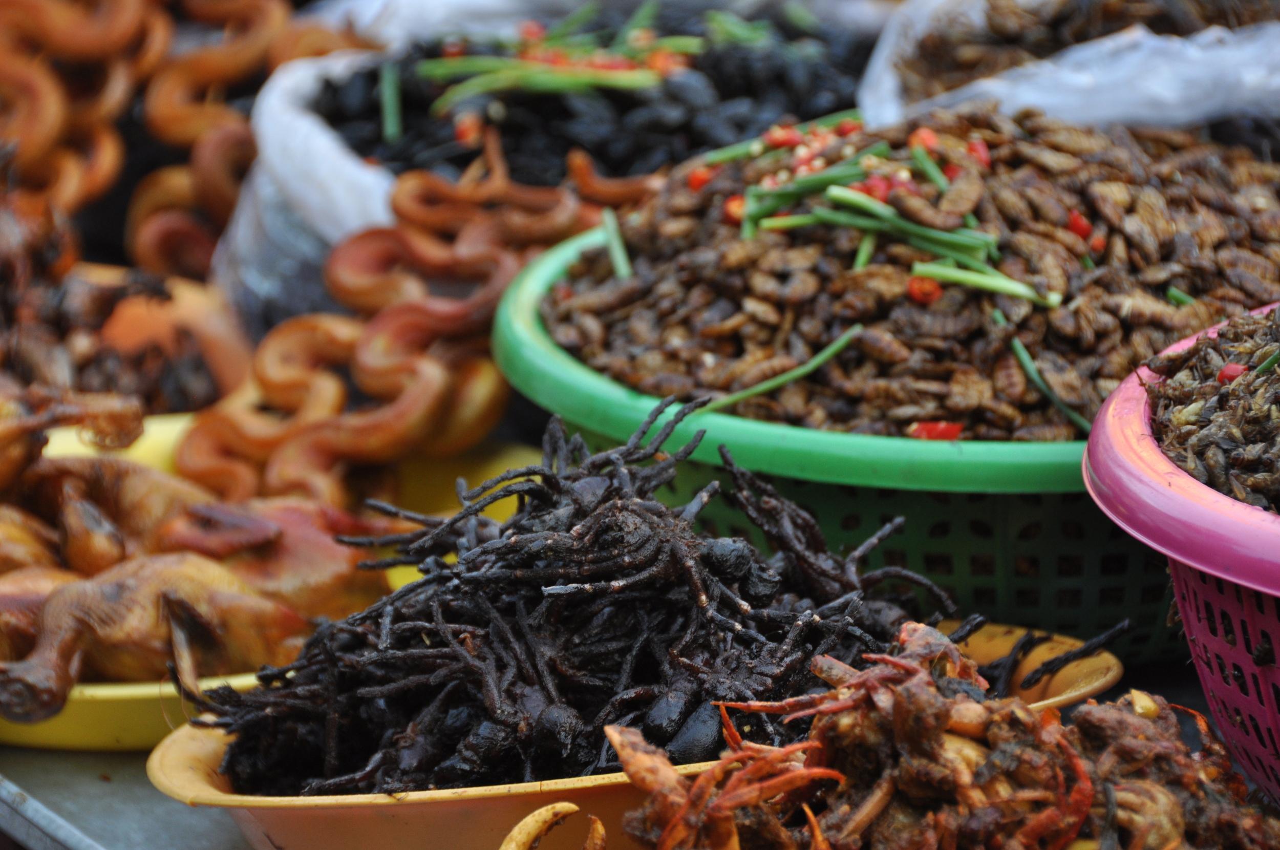 crispy-fried creepy crawlies at the street market