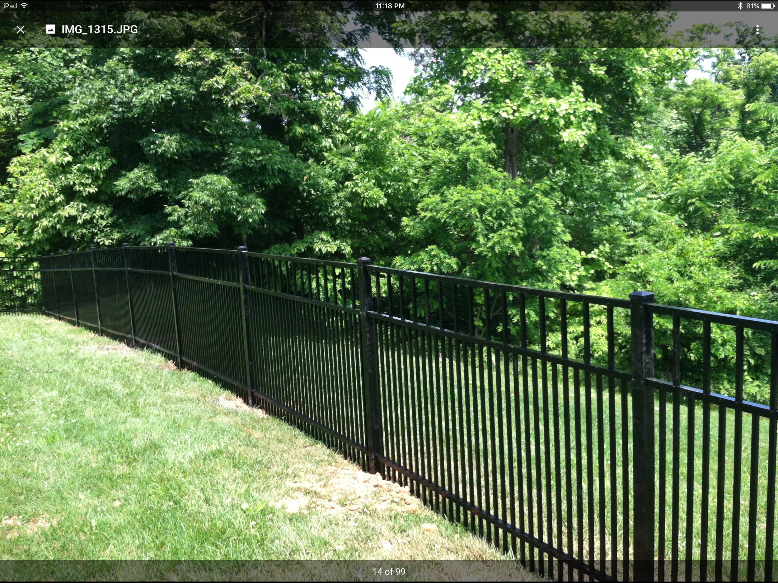 """Black aluminum with 1-1/2"""" picket spacing to keep your small dogs contained"""