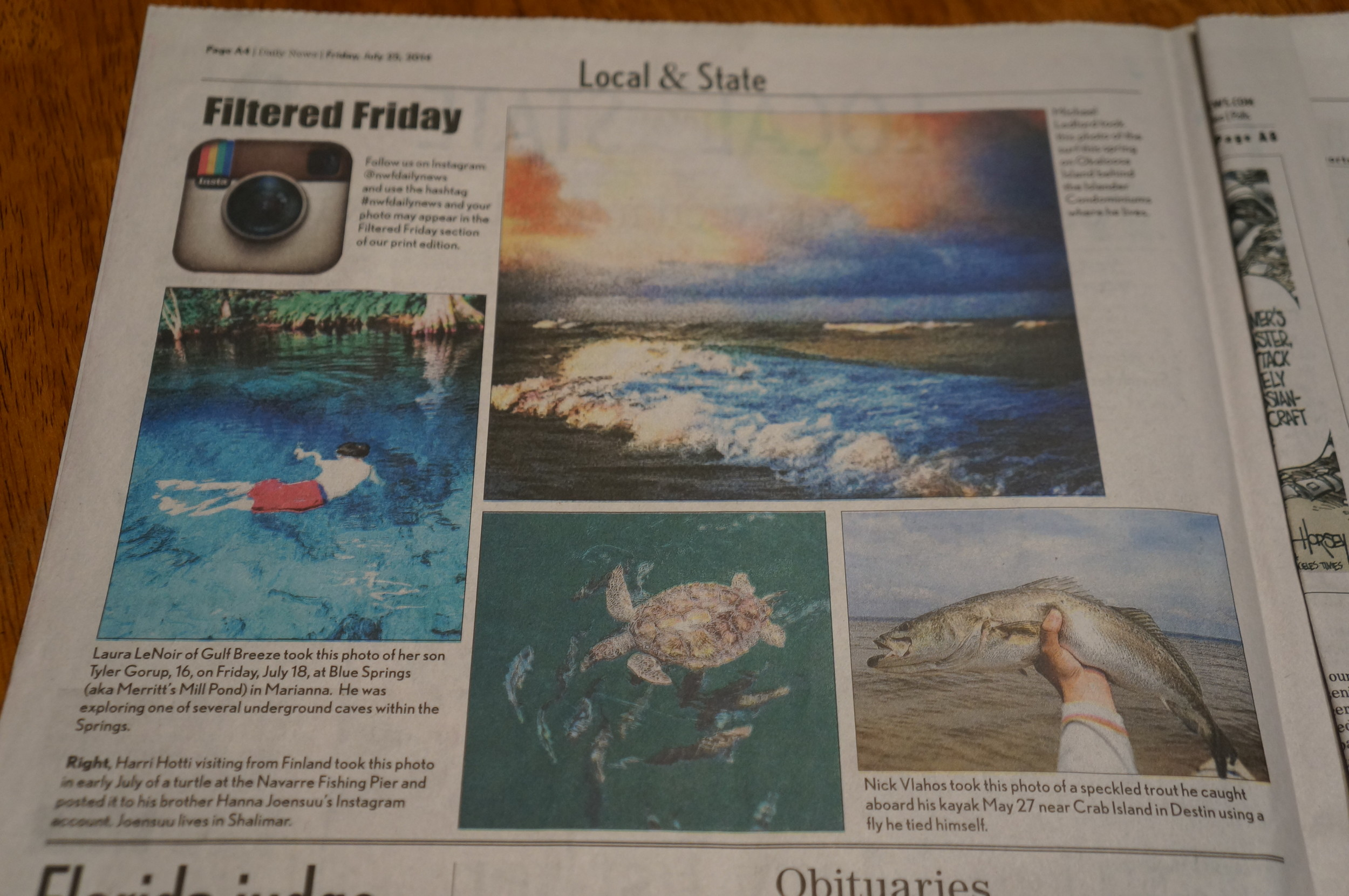 One of my instagram photos was picked up by the Northwest Florida Daily News and was in print the day we arrived.
