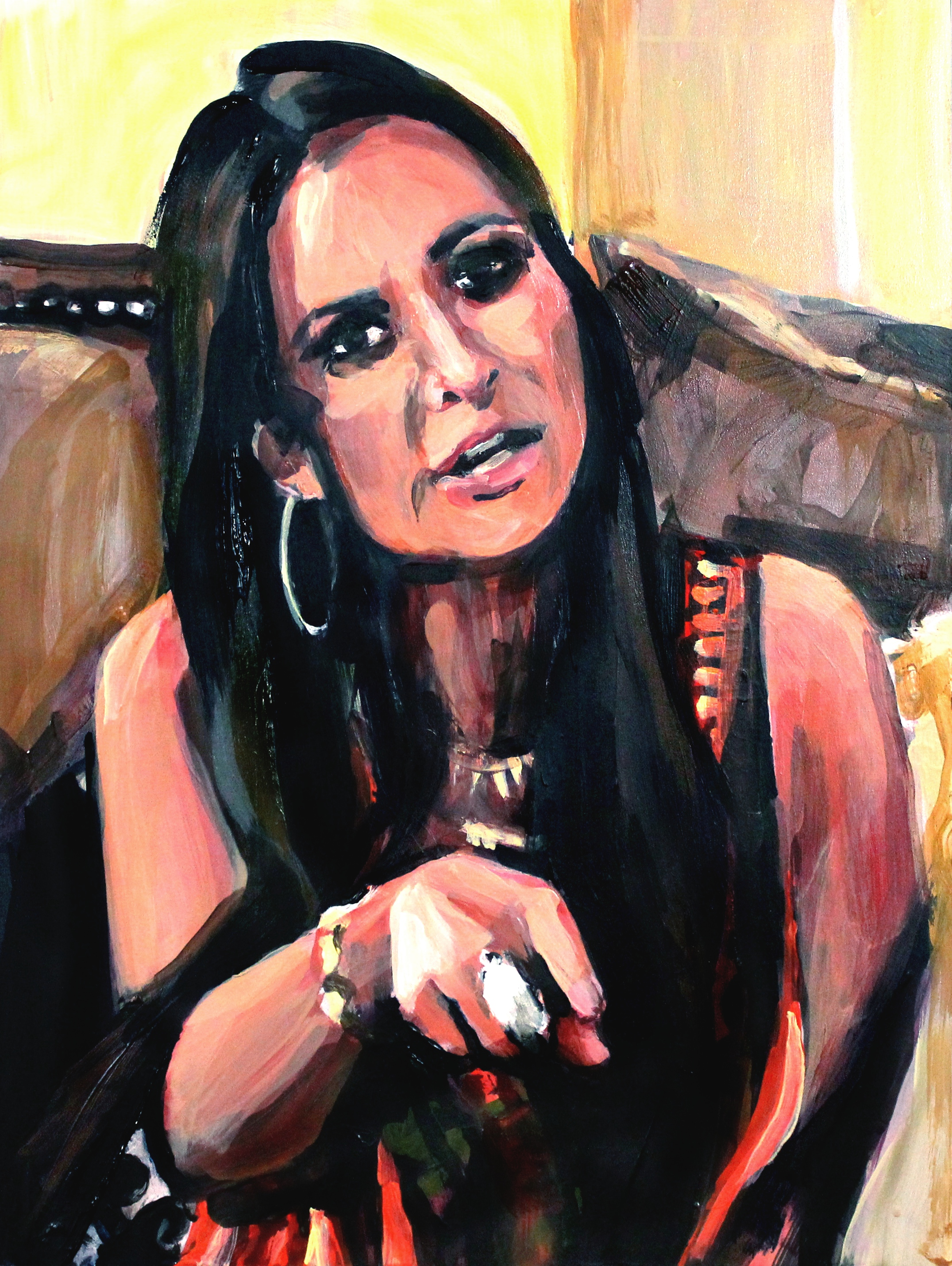 """Kyle Richards Pointing at Her Sister   12"""" x 16"""" acrylic on panel"""