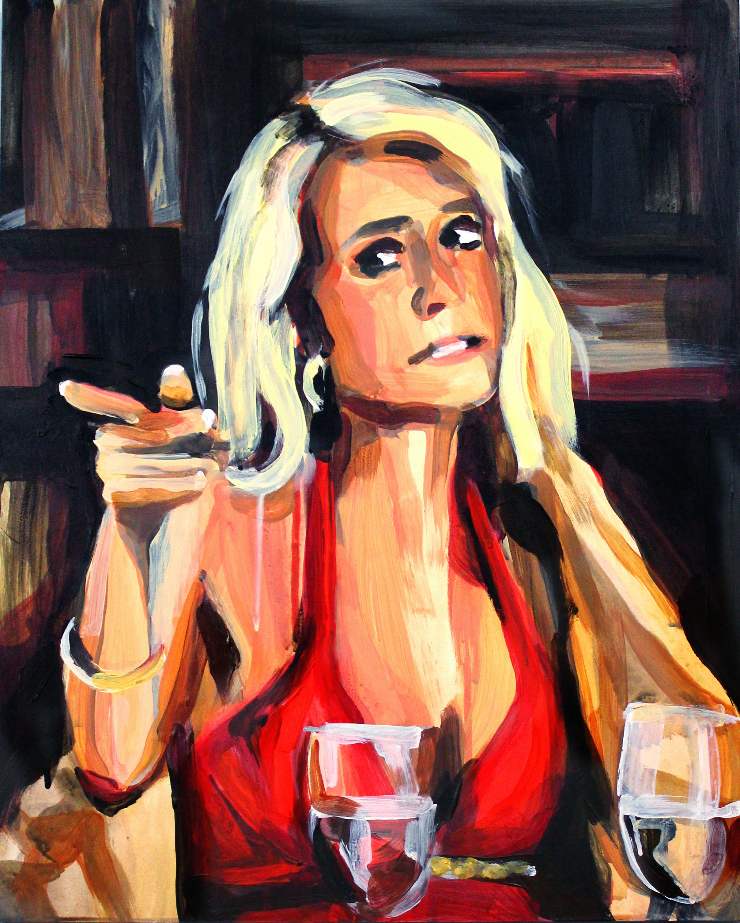 """Kim Richards Pointing At Her Sister   16"""" x 20"""" acrylic on panel   SOLD"""