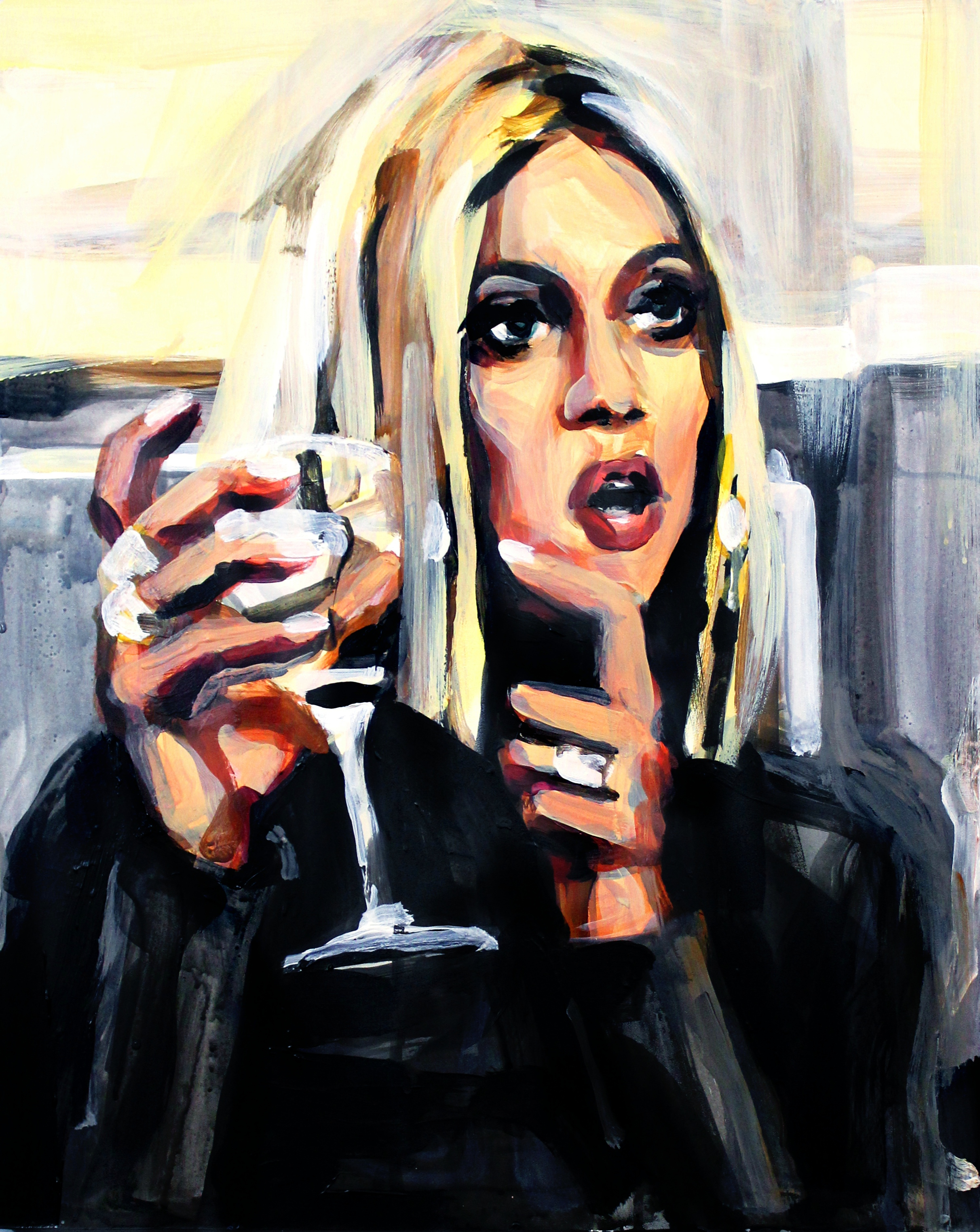 """Kristen Taekman Pointing At A Wine Glass   16"""" x 20"""" acrylic on panel   SOLD"""