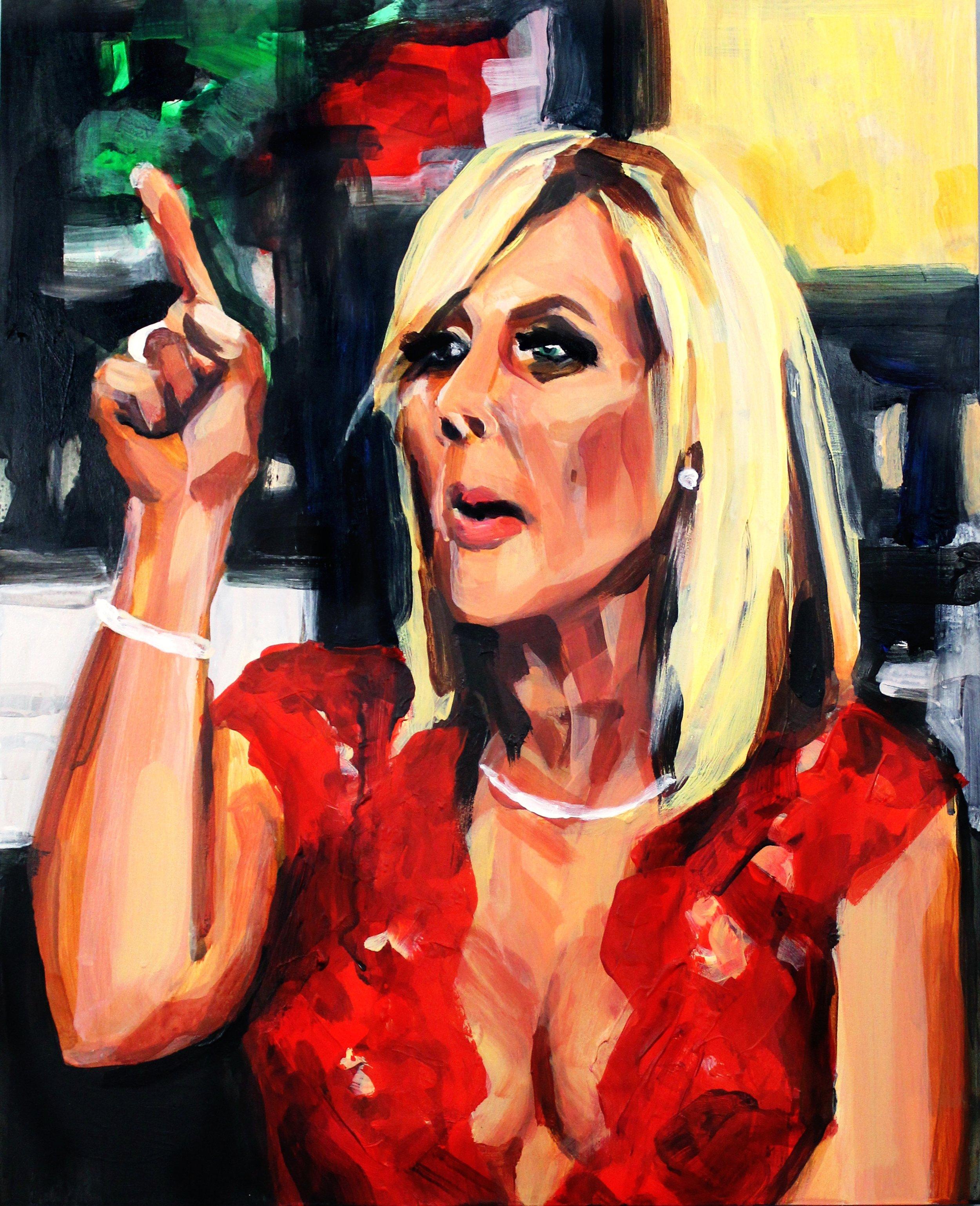 "Vicki Gunvalson Pointing At Tamra   16"" x 20"" acrylic on panel   SOLD"