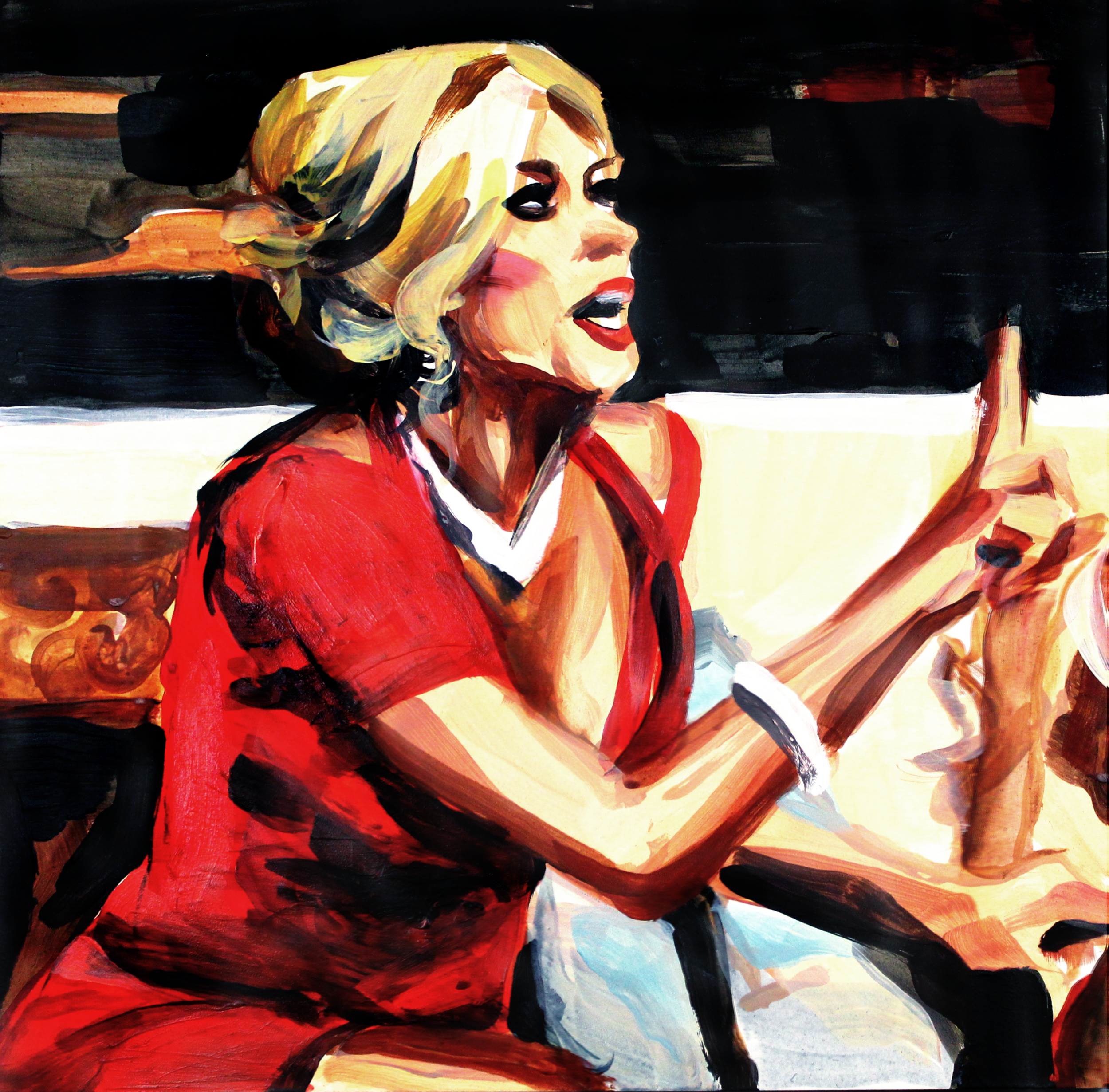 """Alexis Bellino Pointing at Gretchen   12"""" x 12"""" acrylic on panel"""