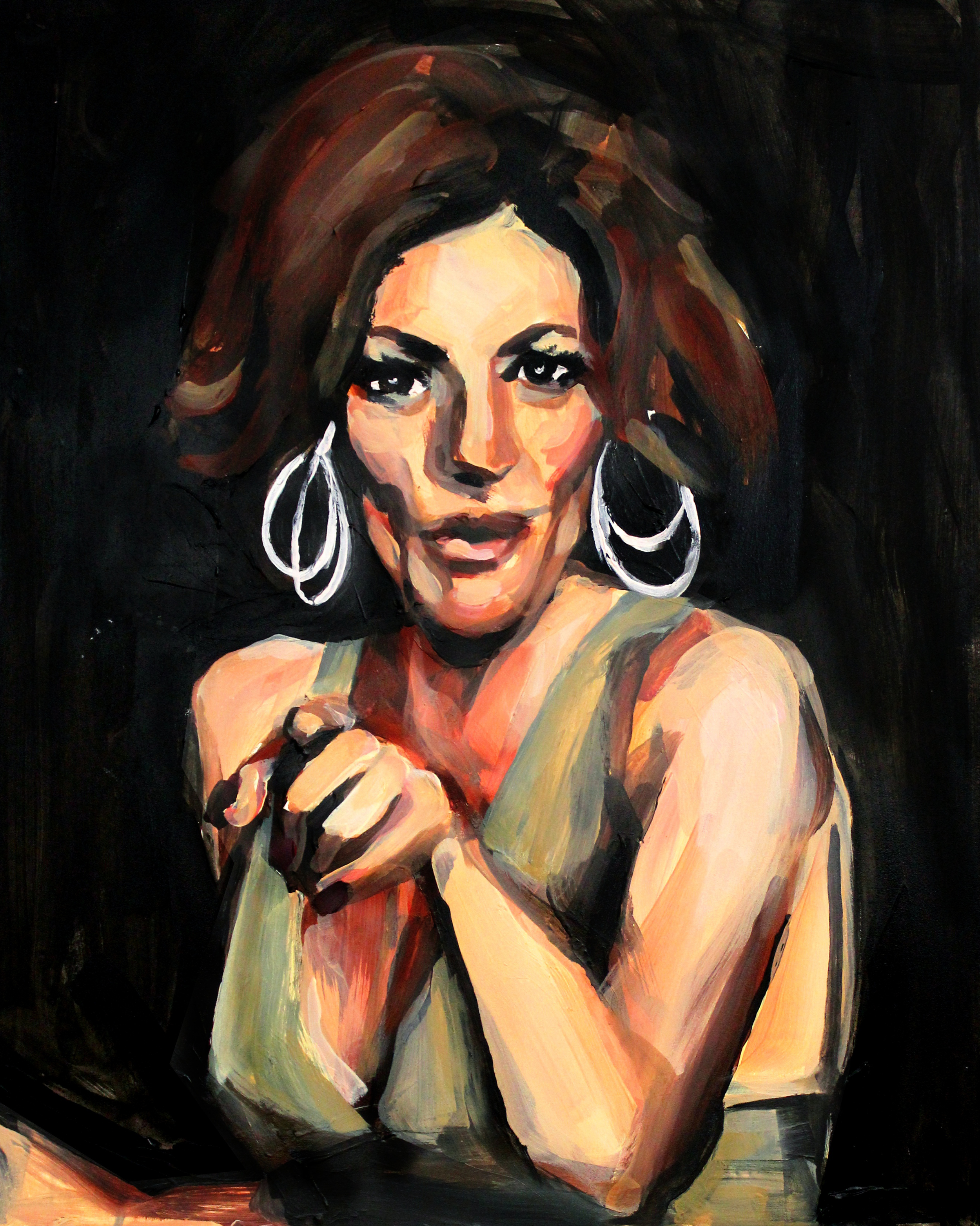 """Countess Luann Pointing at You   16"""" x 20"""" acrylic on panel"""