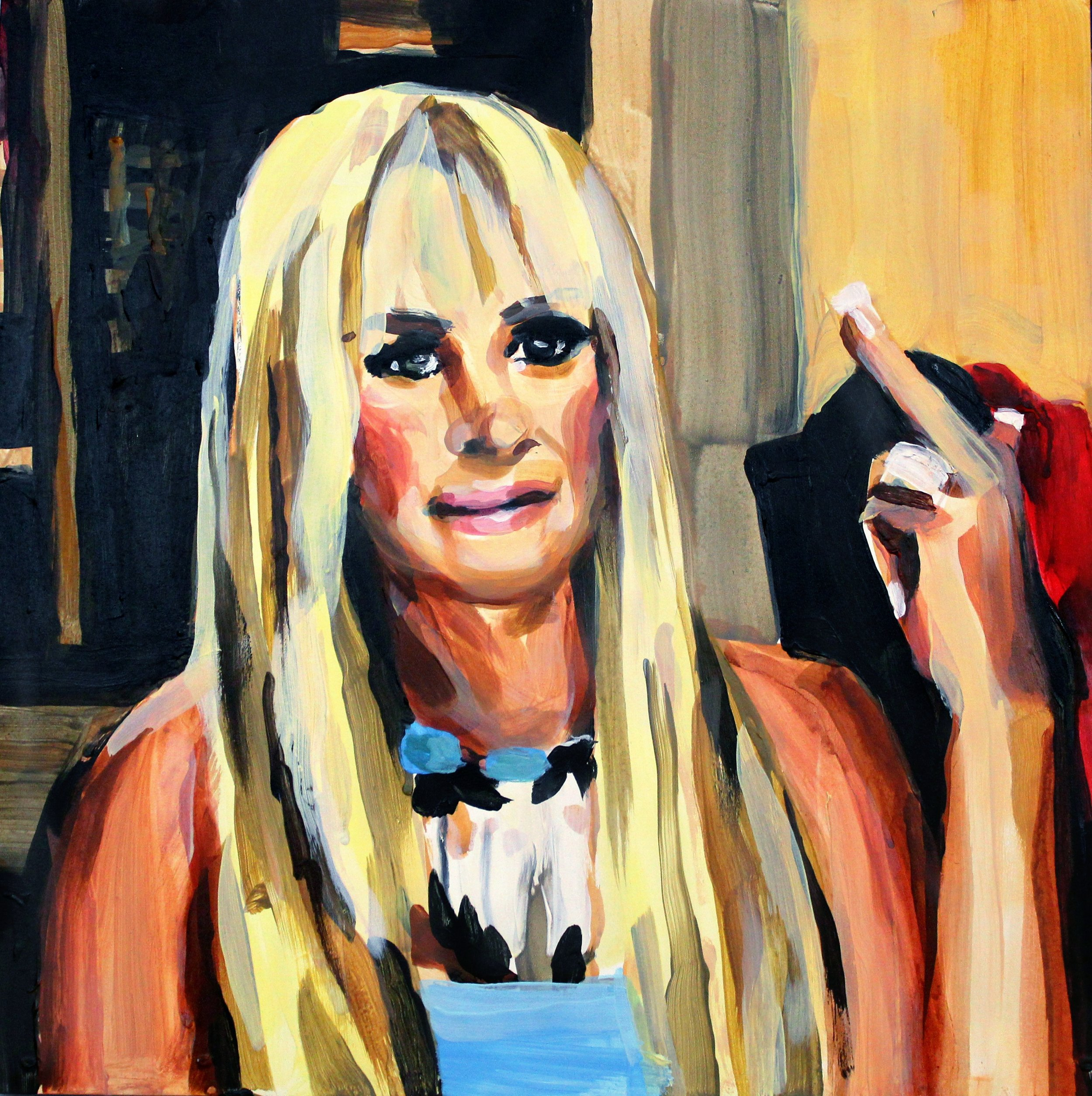 """Kim Zolciak Pointing Her Middle Finger   12"""" x 12"""" acrylic on panel   SOLD"""