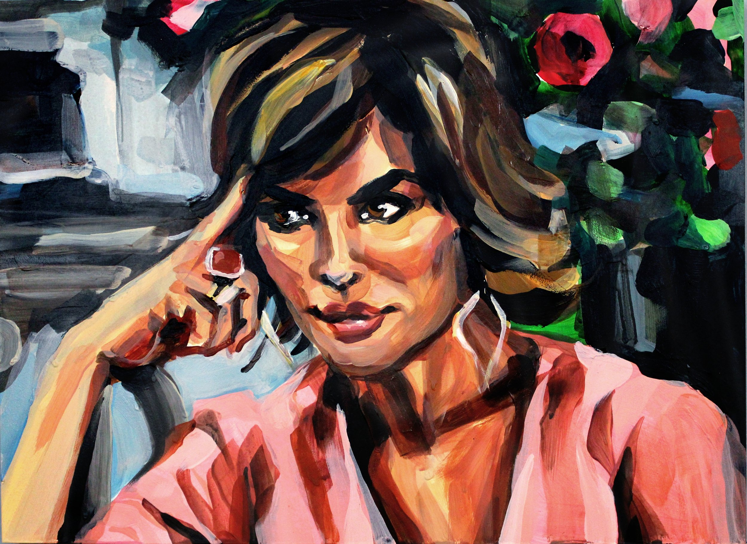 """Lisa Rinna Pointing at Her Eyebrow   12"""" x 16"""" acrylic on panel   SOLD"""