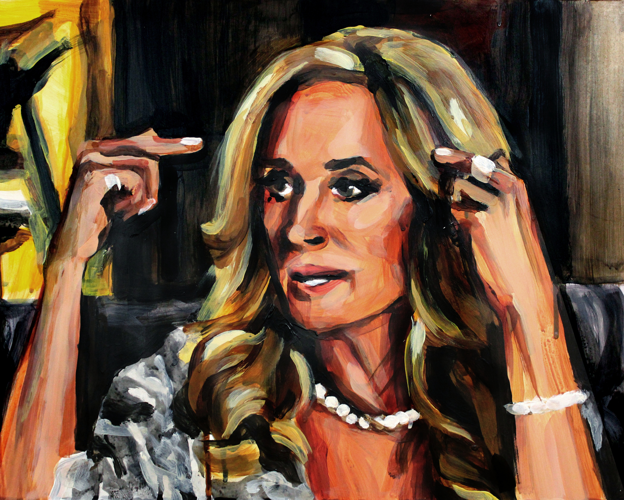 """Sonja Morgan Pointing at her Head   16"""" x 20"""" acrylic on panel   SOLD"""