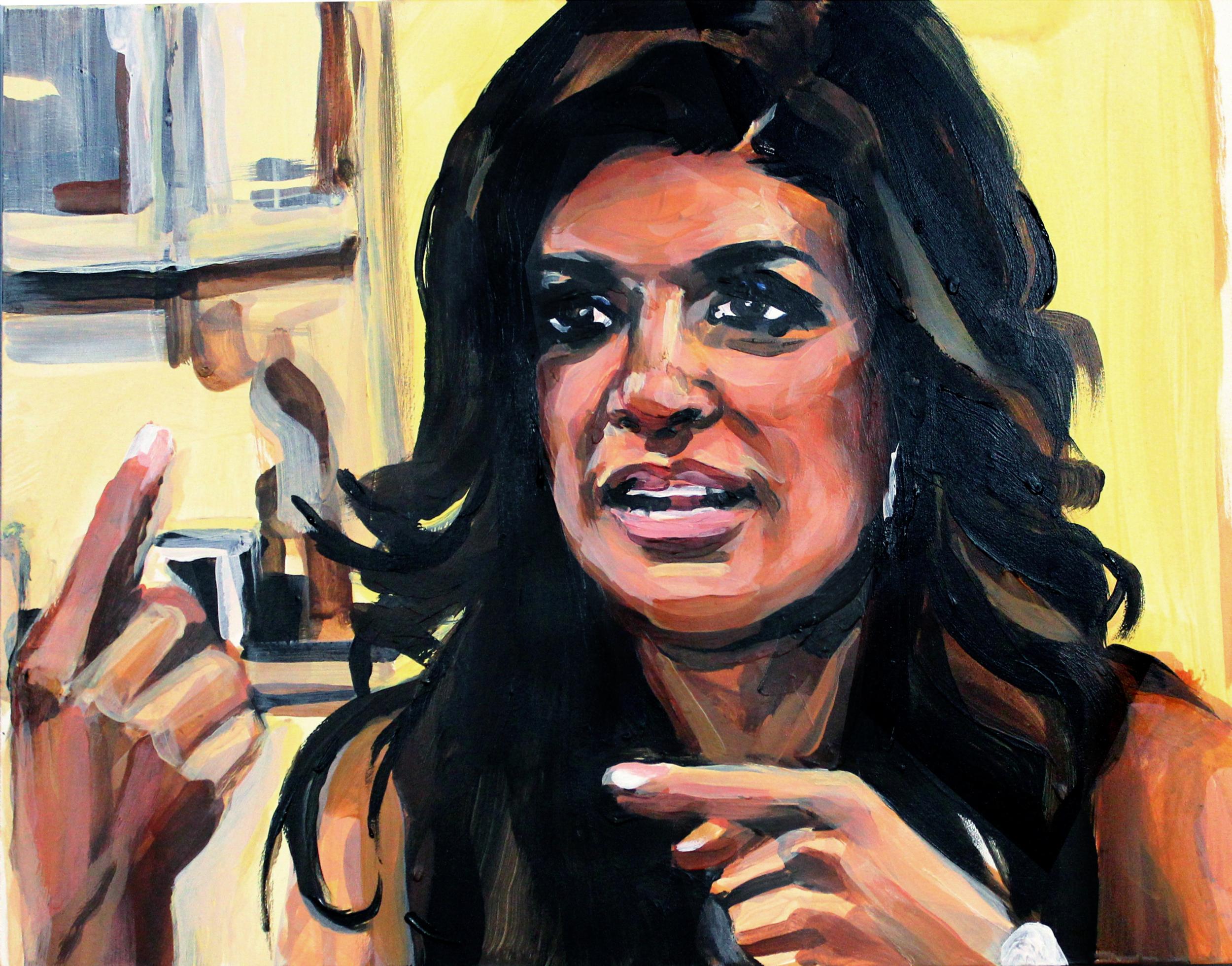 """Teresa Giudice Pointing Up and Over   11"""" x 14"""" acrylic on panel"""