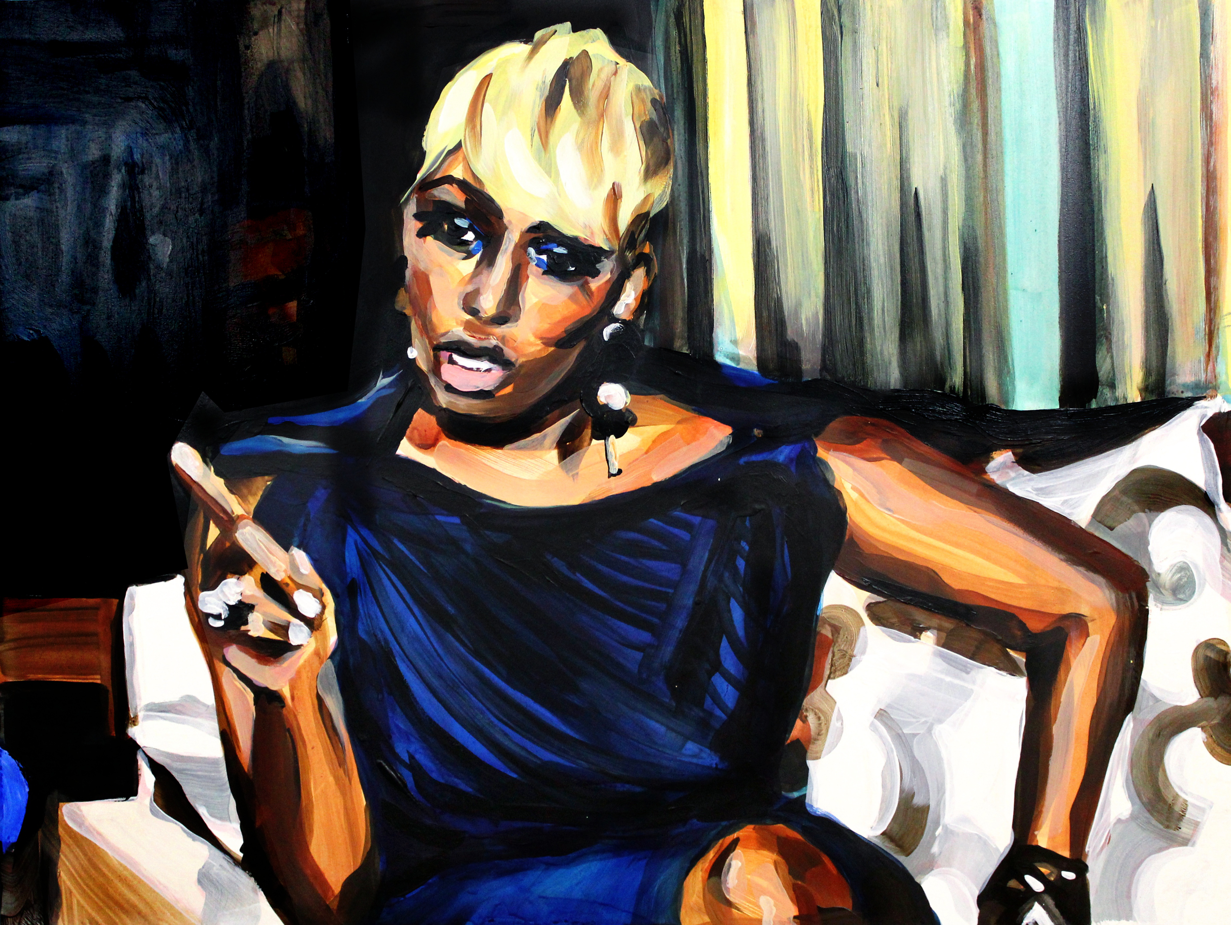 """NeNe Leakes Pointing at Sheree   18"""" x 24"""" acrylic on panel   SOLD"""