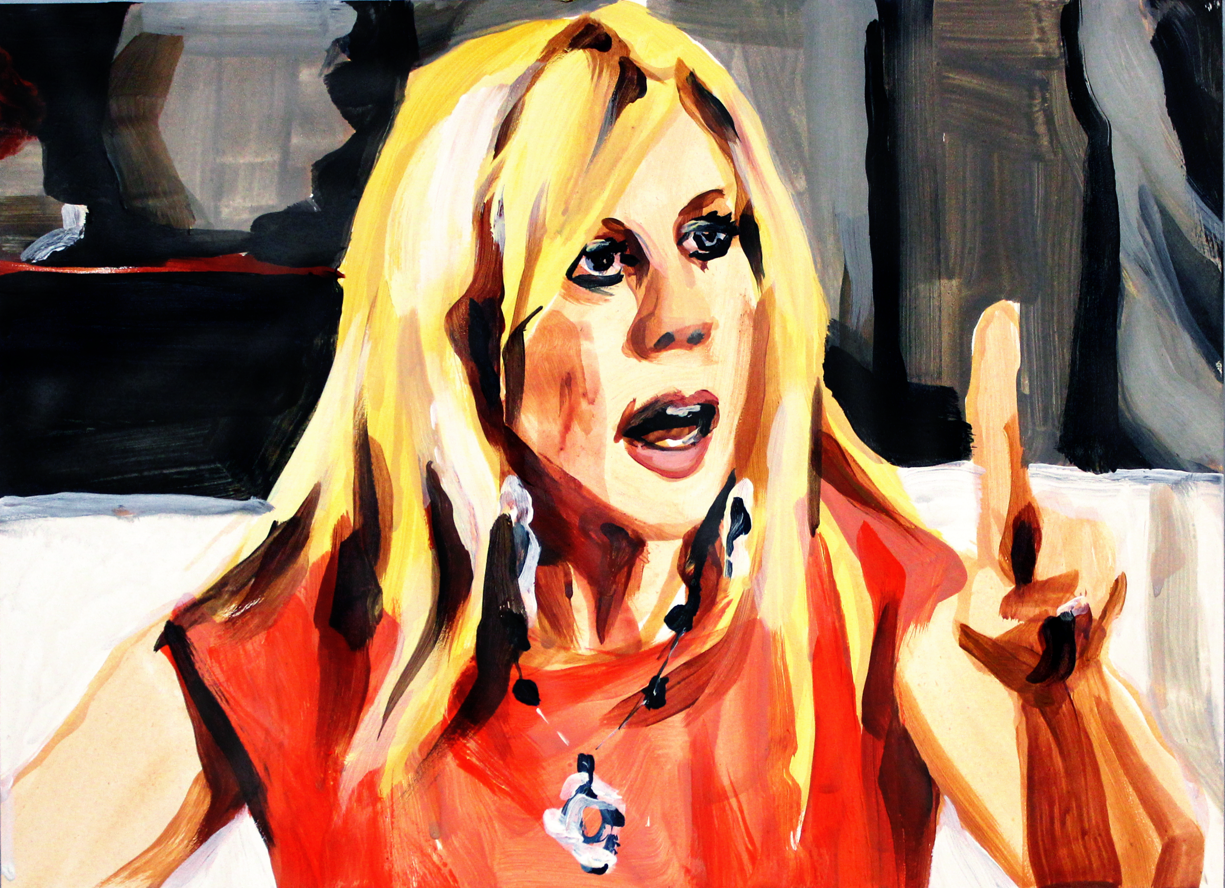 "Vicki Gunvalson Pointing Up   9"" x 12"" acrylic on panel"