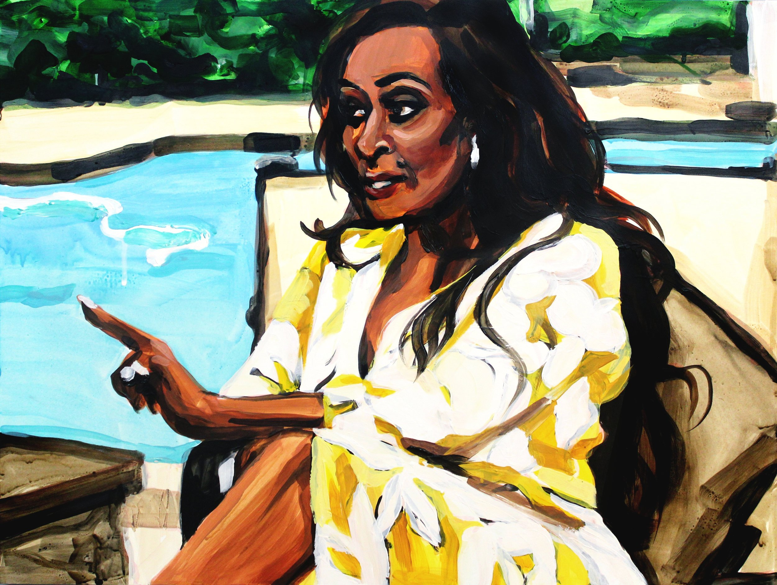 """Karen Huger Pointing at Gizelle   18"""" x 24"""" acrylic on panel"""