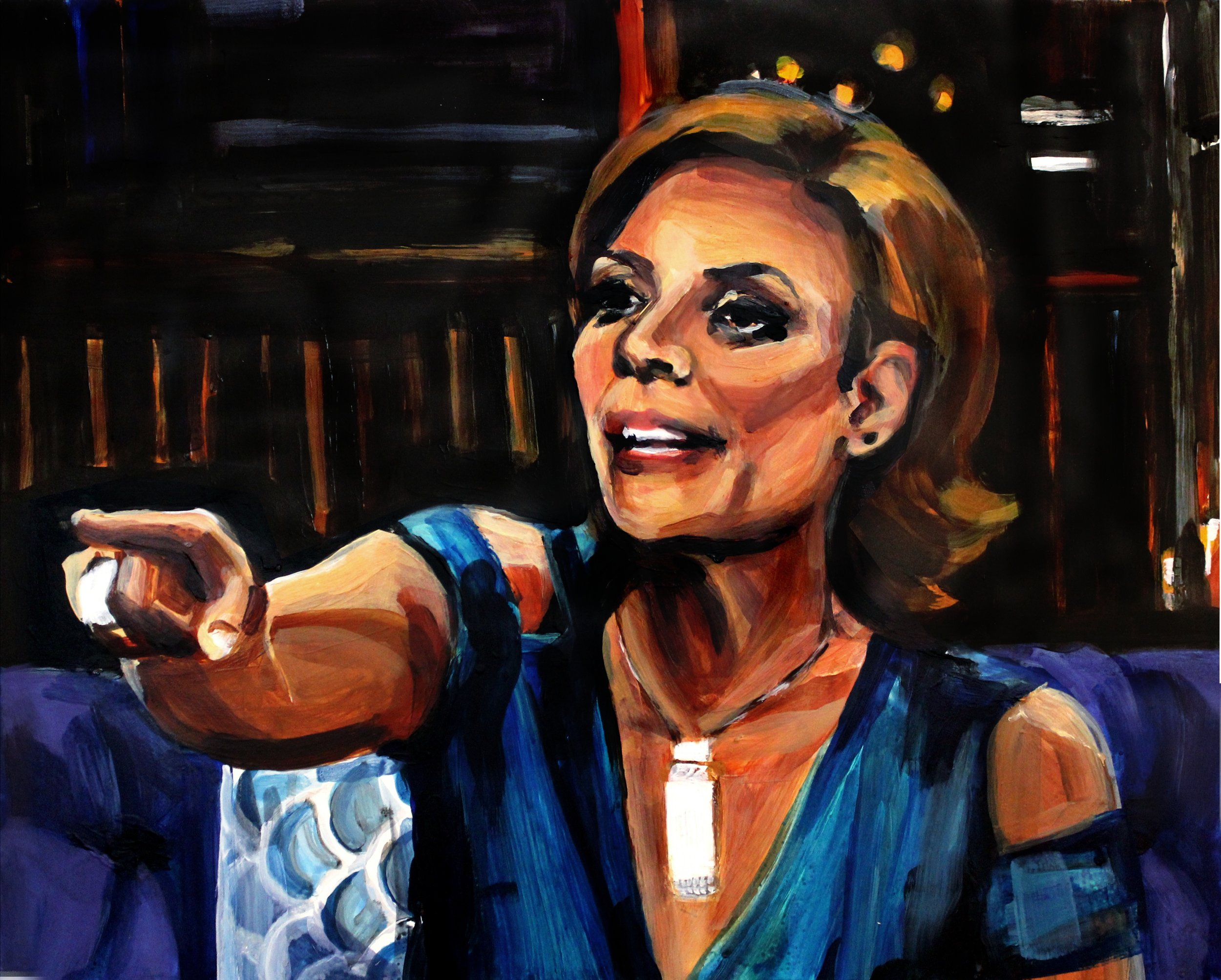 """Luann de Lesseps Pointing at Carole   16"""" x 20"""" acrylic on panel   SOLD"""