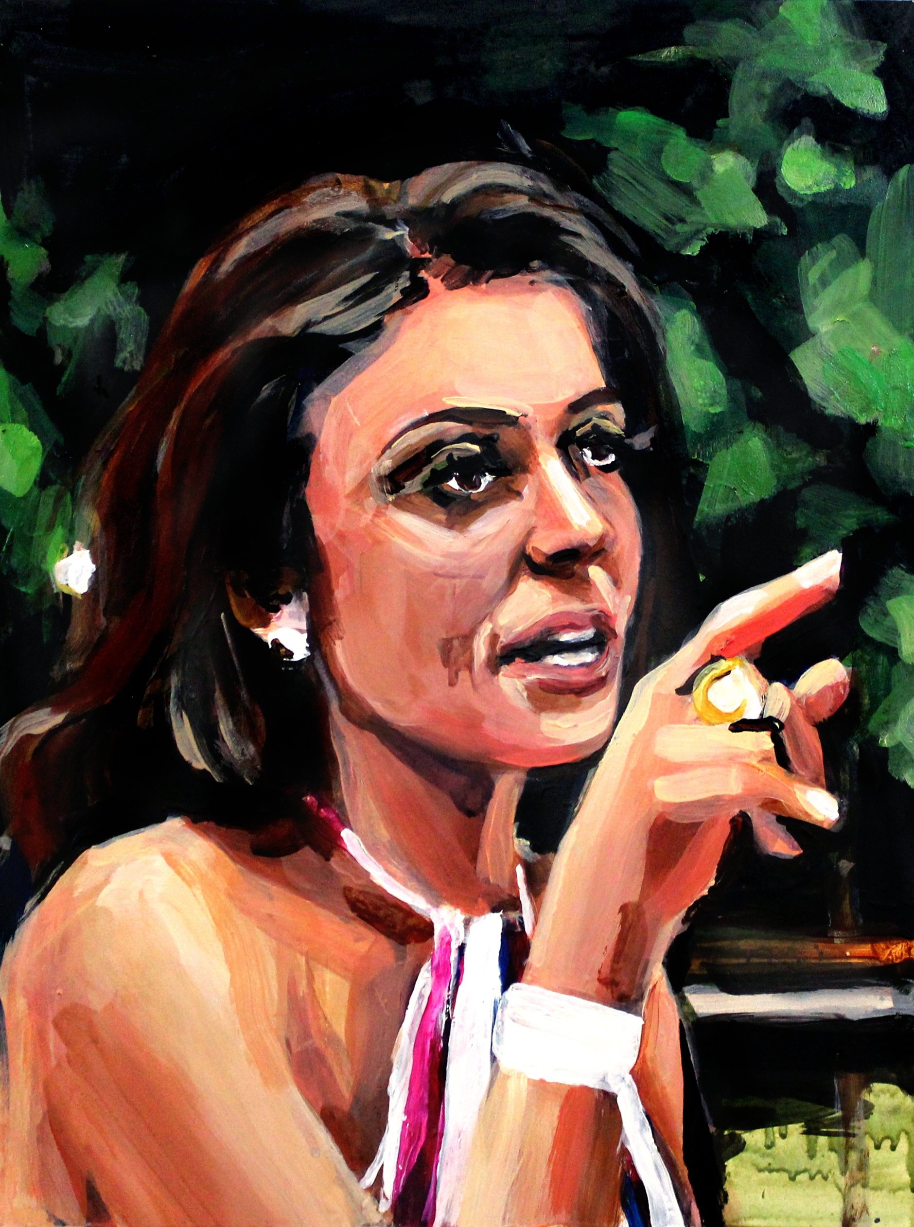 """Bethenny Frankel Pointing at Sonja   12"""" x 16"""" acrylic on panel   SOLD"""