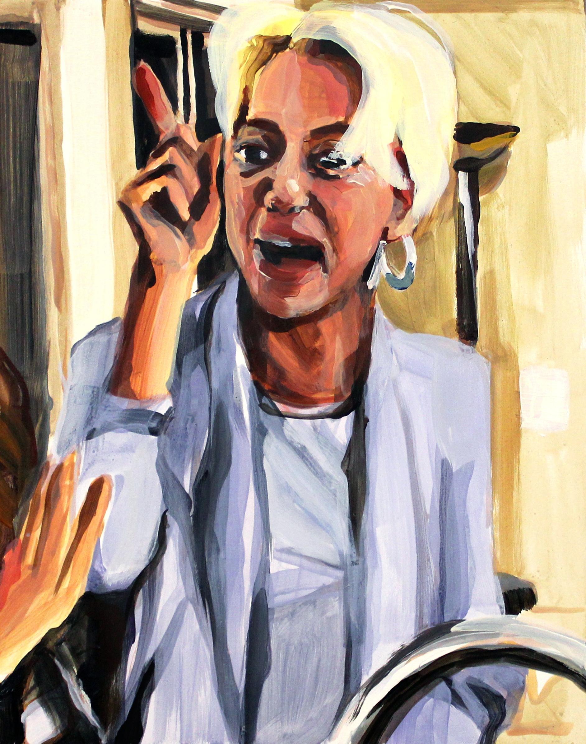"Dorinda Medley Pointing at Ramona   11"" x 14"" acrylic on panel"