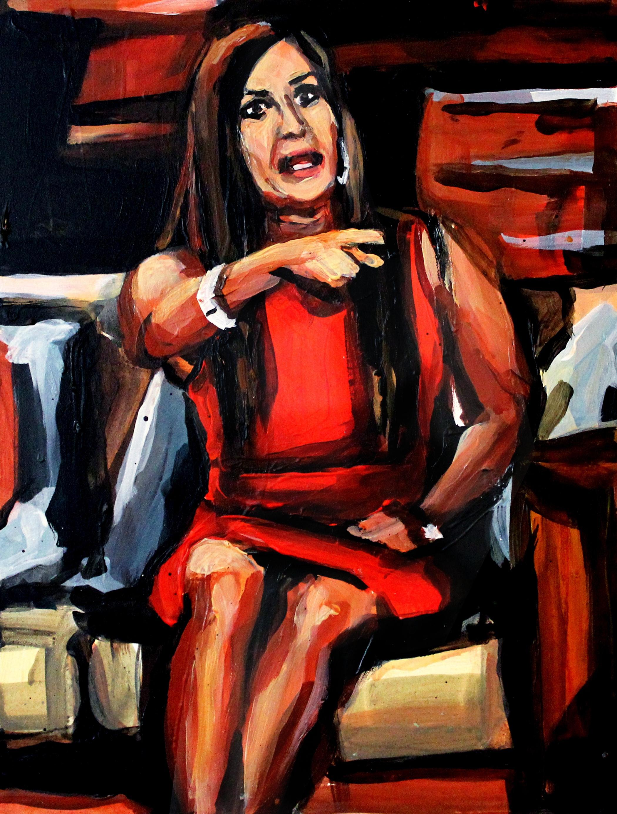 "Jacqueline Laurita Pointing at Teresa   9"" x 12"" acrylic on panel"
