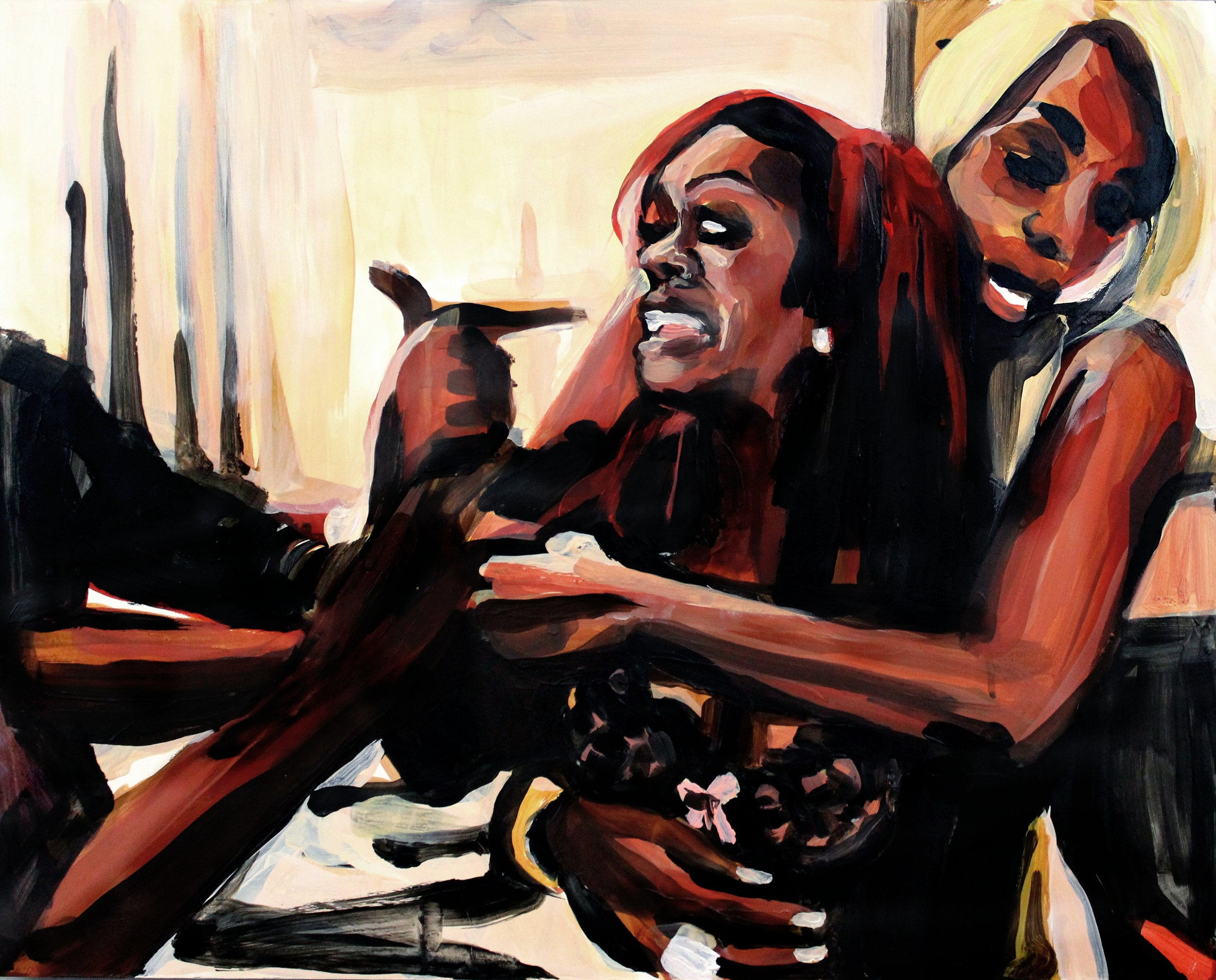 "Kandi Burruss Pointing at Herself   16"" x 20"" acrylic on panel"