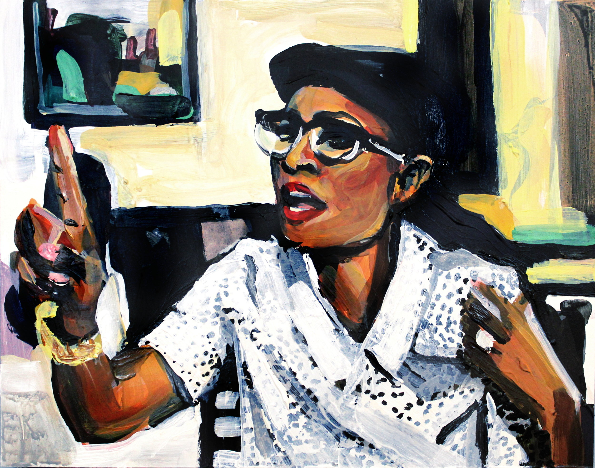 "Cynthia Bailey Pointing at Porsha  11"" x 14"" acrylic on panel"