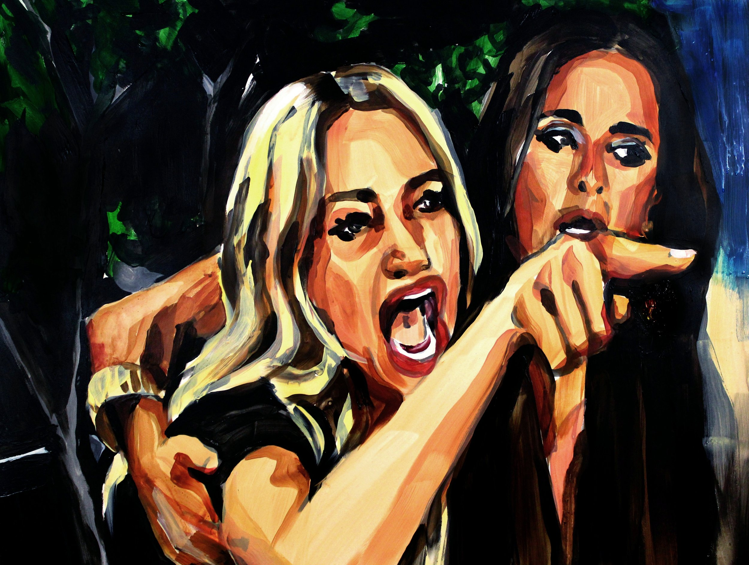 """Taylor Armstrong Pointing at Dee Dee   18"""" x 24"""" acrylic on panel   SOLD"""