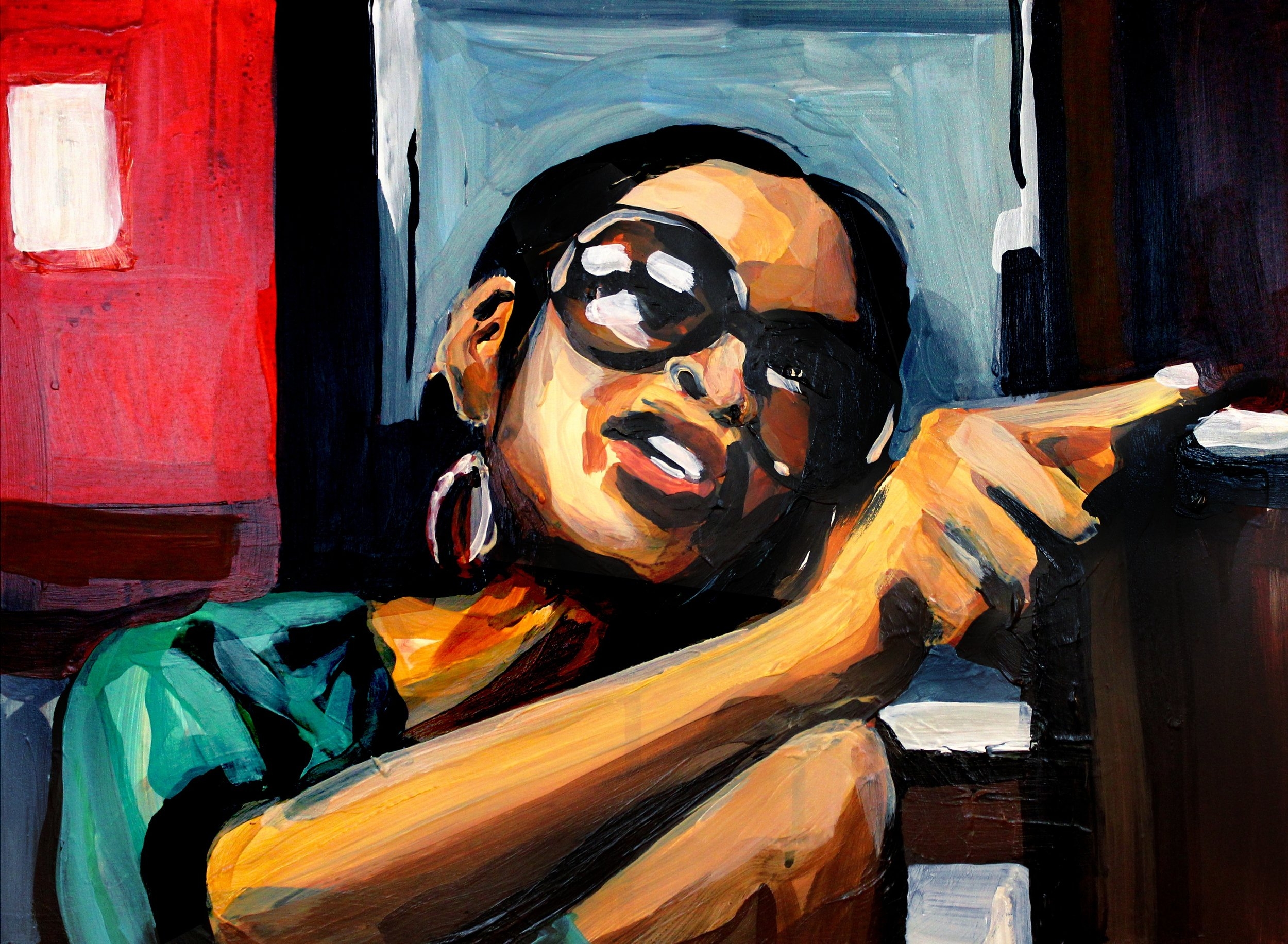 """Sheree Pointing at her Party Planner   12"""" x 16"""" acrylic on panel   SOLD"""