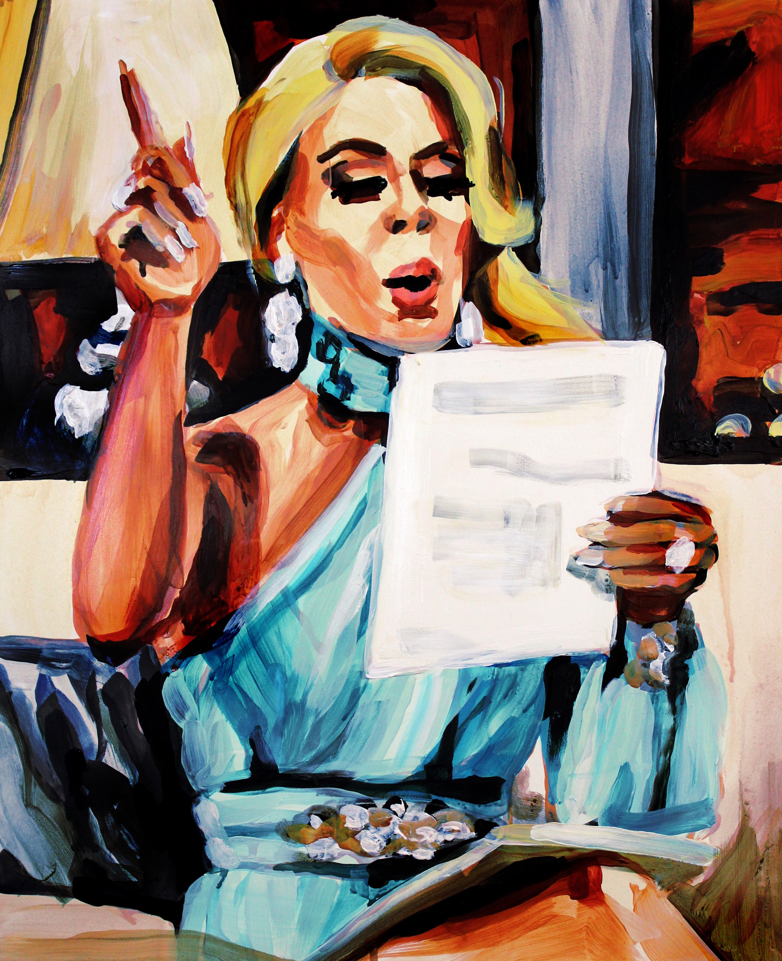 """Gretchen Rossi Pointing Up   16"""" x 20"""" acrylic on panel"""