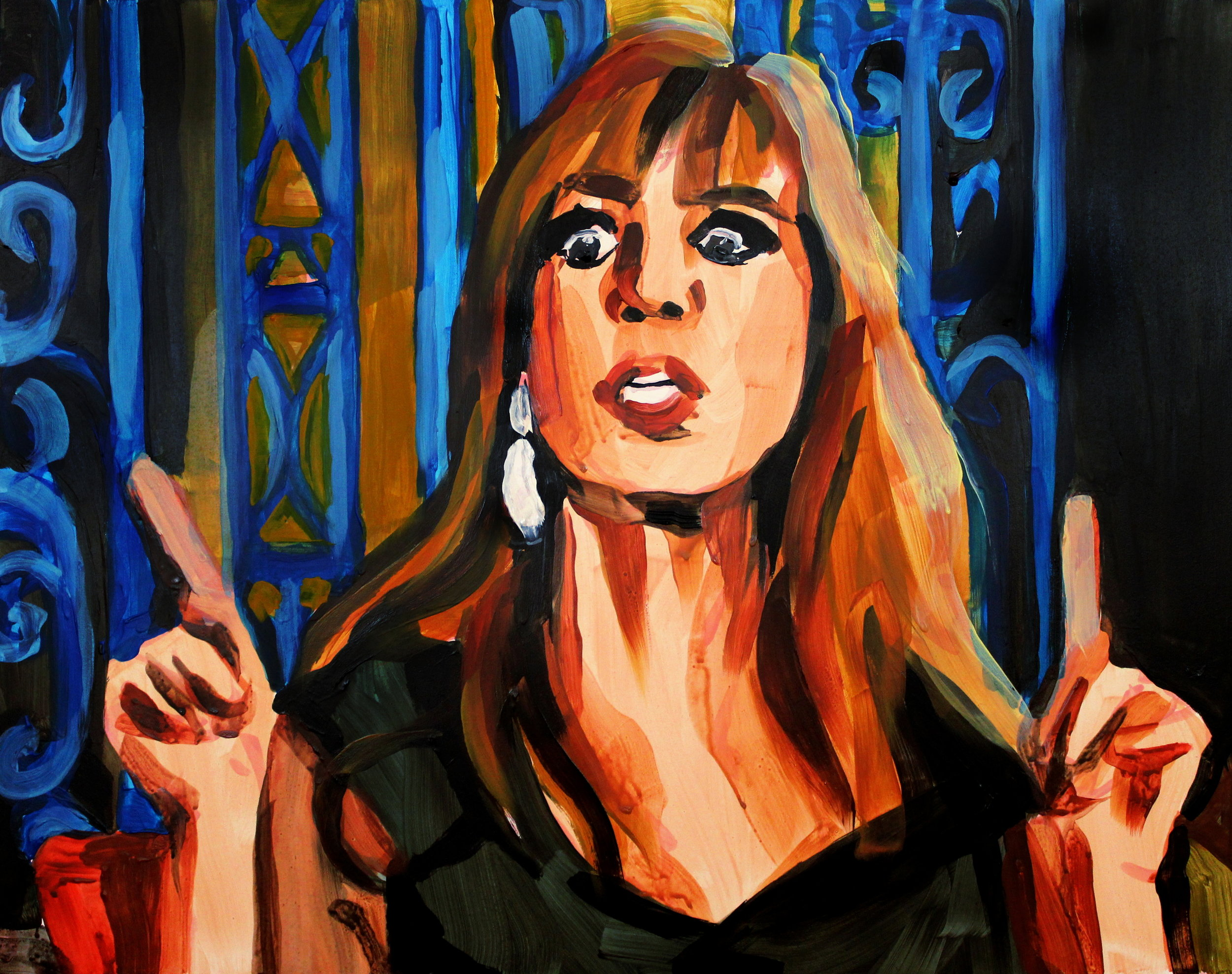 """Jill Zarin Pointing Up   16"""" x 20"""" acrylic on panel   SOLD"""