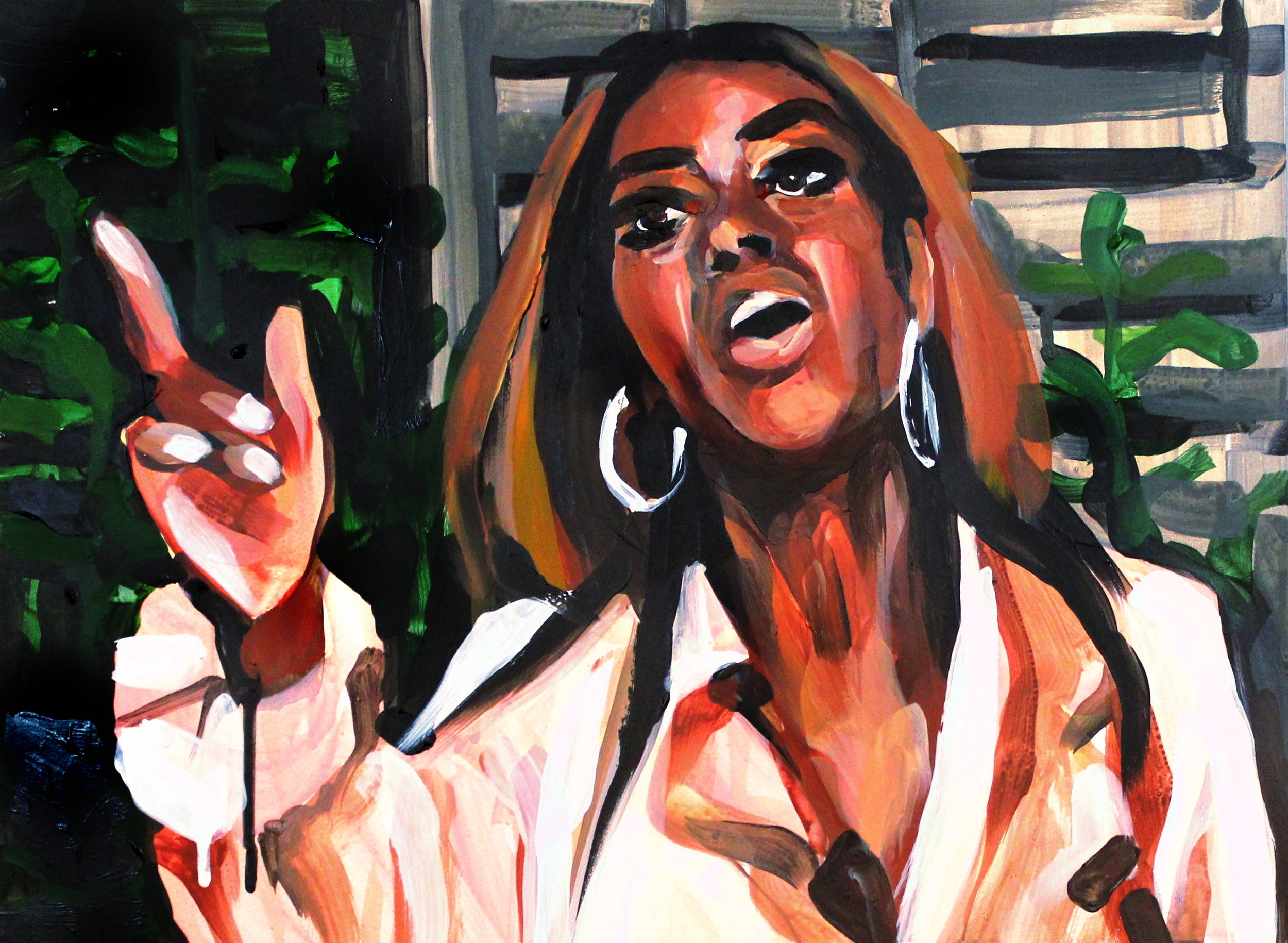 """Kenya Moore Pointing Up   12"""" x 16"""" acrylic on panel   SOLD"""