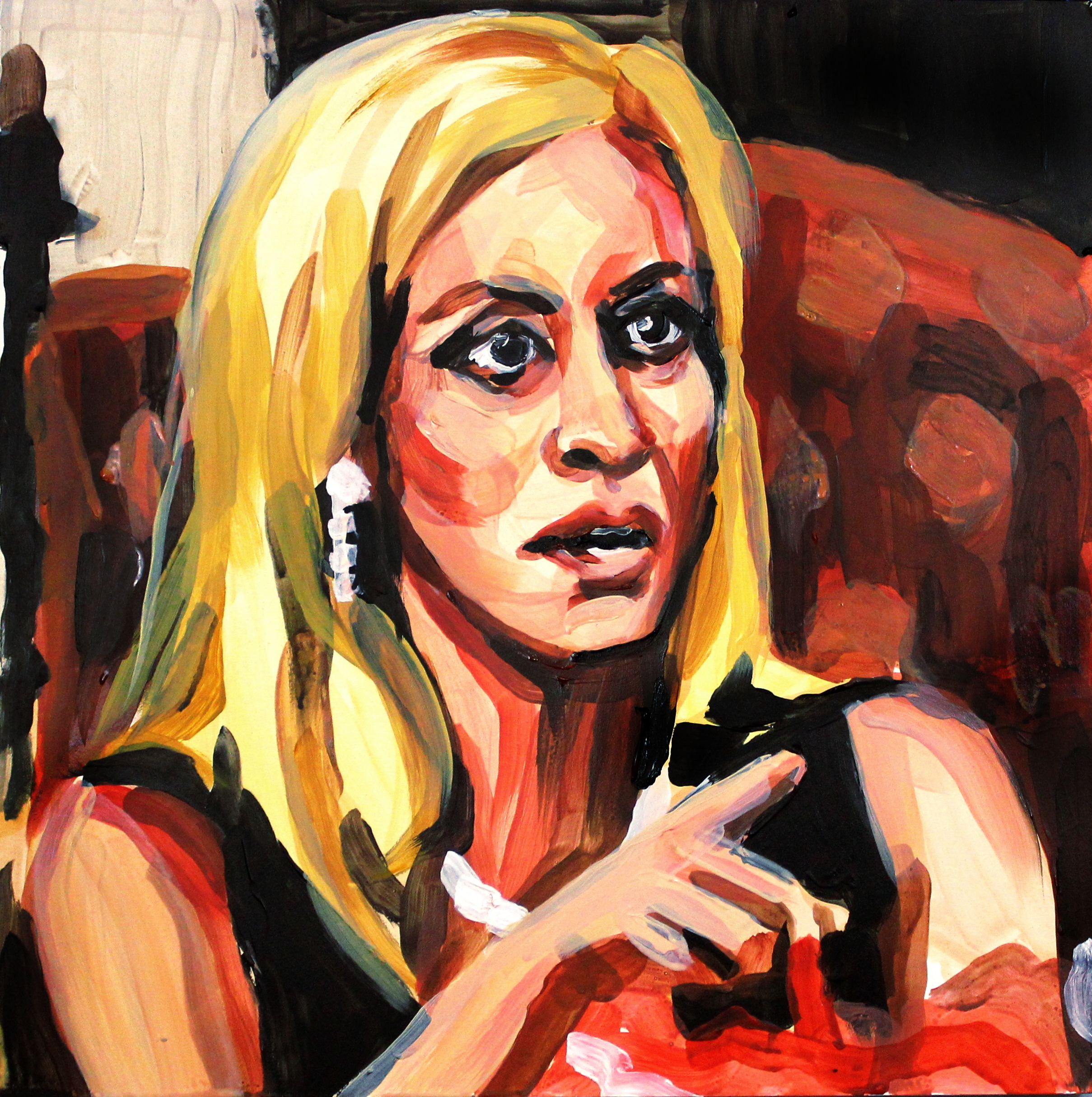 """Camille Grammer Pointing at Faye   12"""" x 12"""" acrylic on panel"""