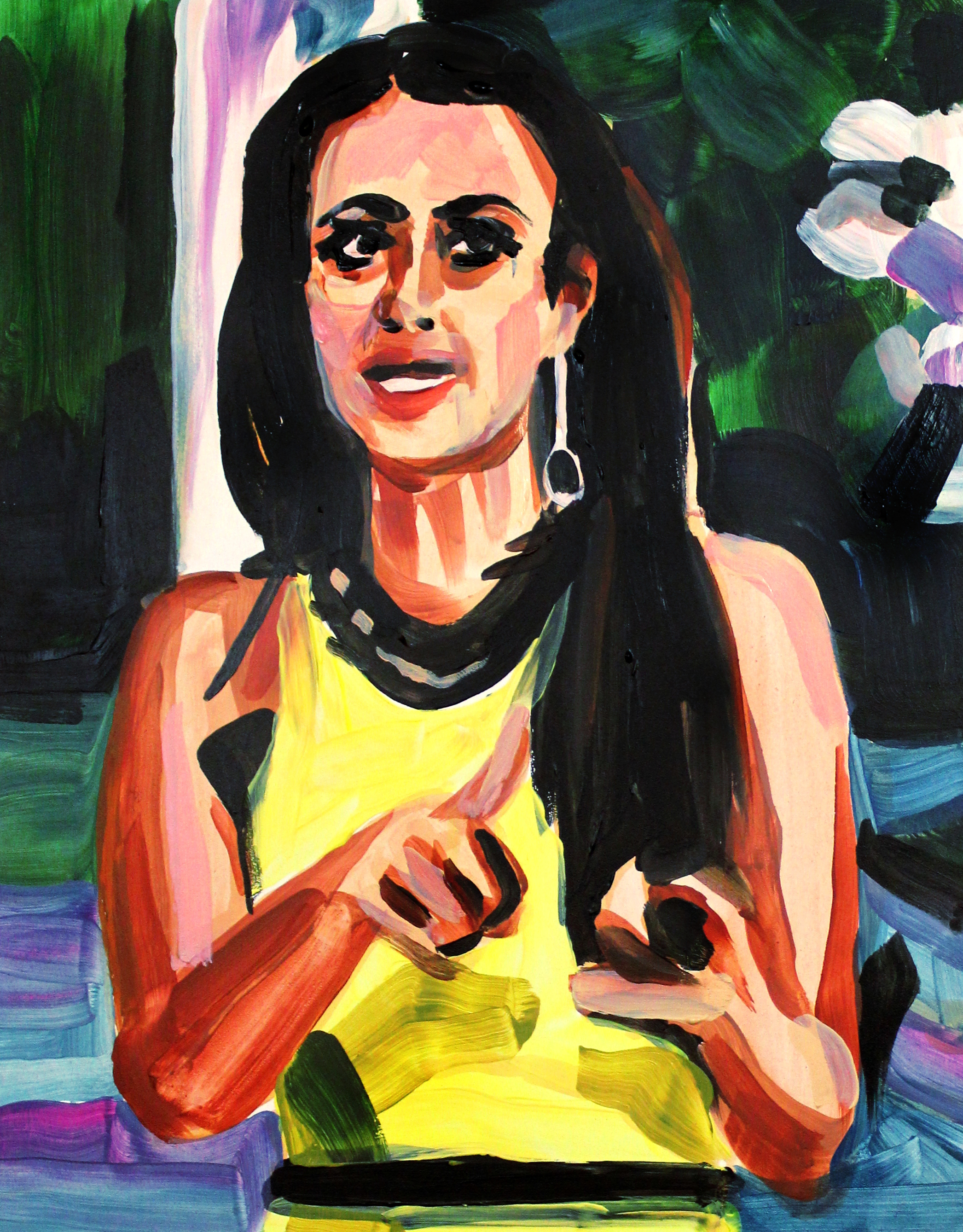 """Kyle Richards Pointing Left and Right   11"""" x 14"""" acrylic on panel   SOLD"""