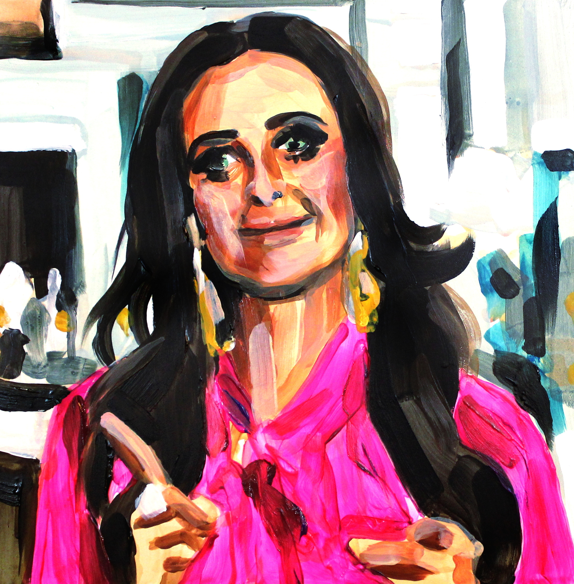 """Kyle Richards Pointing Up and Forward   12"""" x 12"""" acrylic on panel   SOLD"""