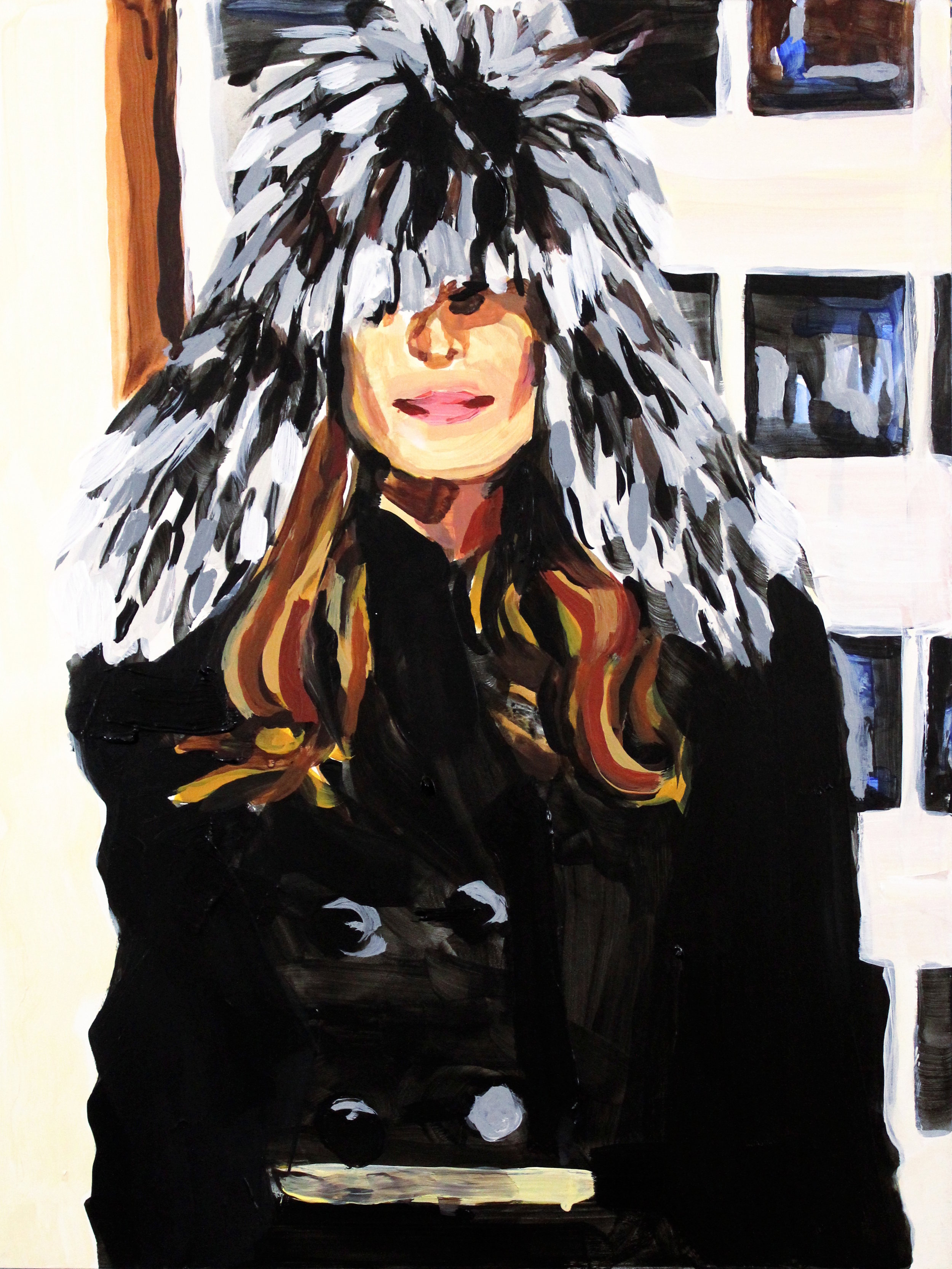 """Olivia Palermo in a Fur Hat    12"""" x 16"""" acrylic on panel"""