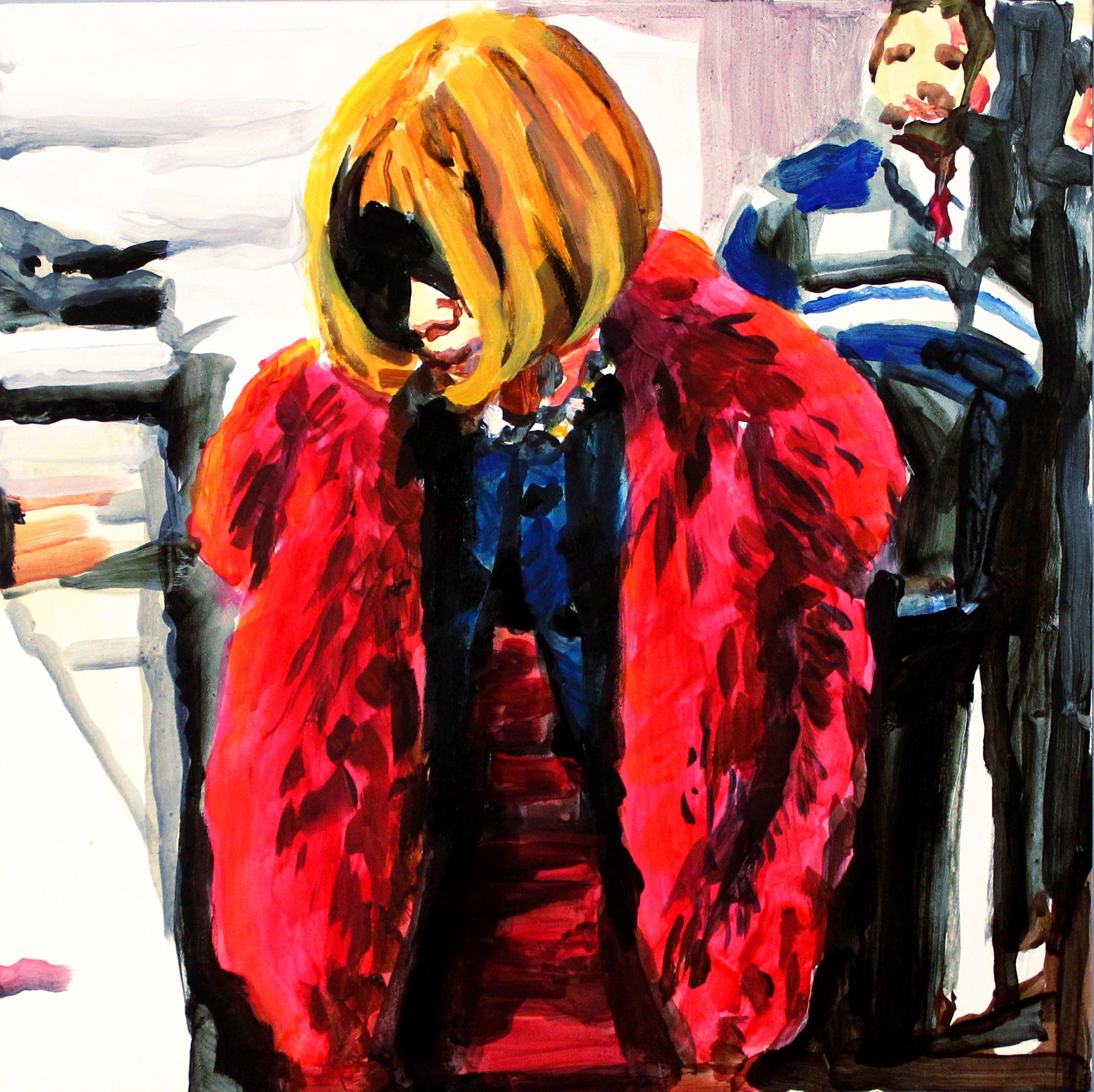 """Anna Wintour in Red Fur   12"""" x 12"""" acrylic on panel   SOLD"""