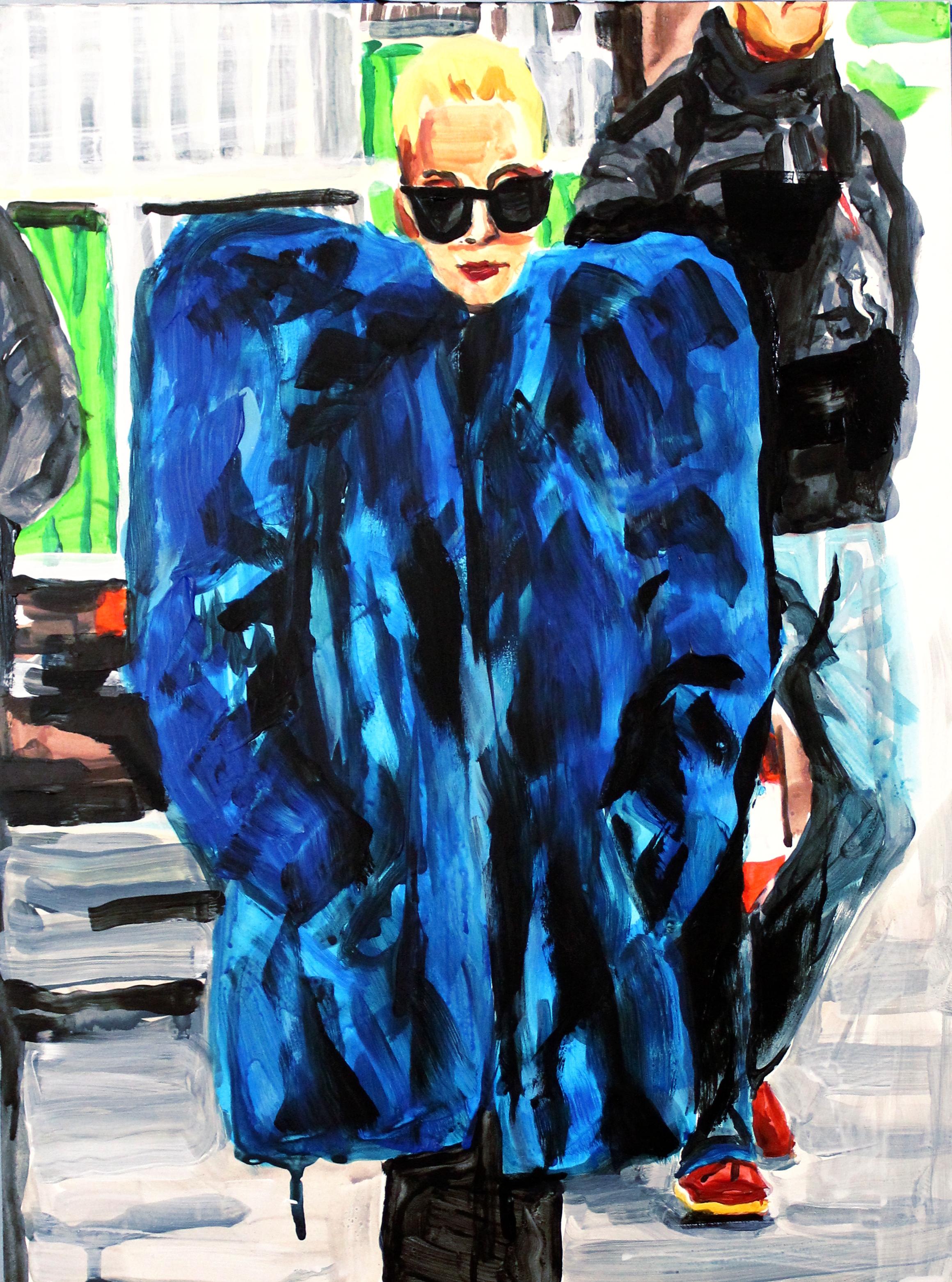 "Lady Gaga in Blue Fur    12"" x 16"" acrylic on panel"