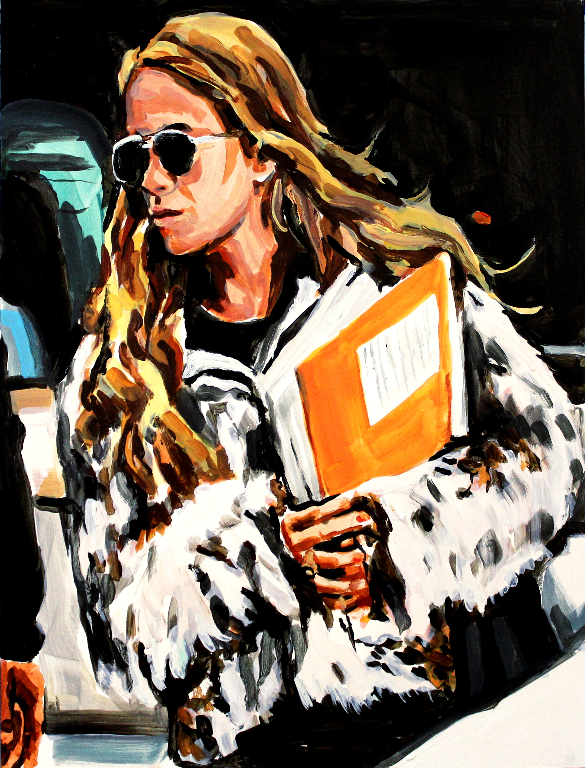 """Mary Kate Olsen in Spotted Fur    12"""" x 16"""" acrylic on panel   SOLD"""