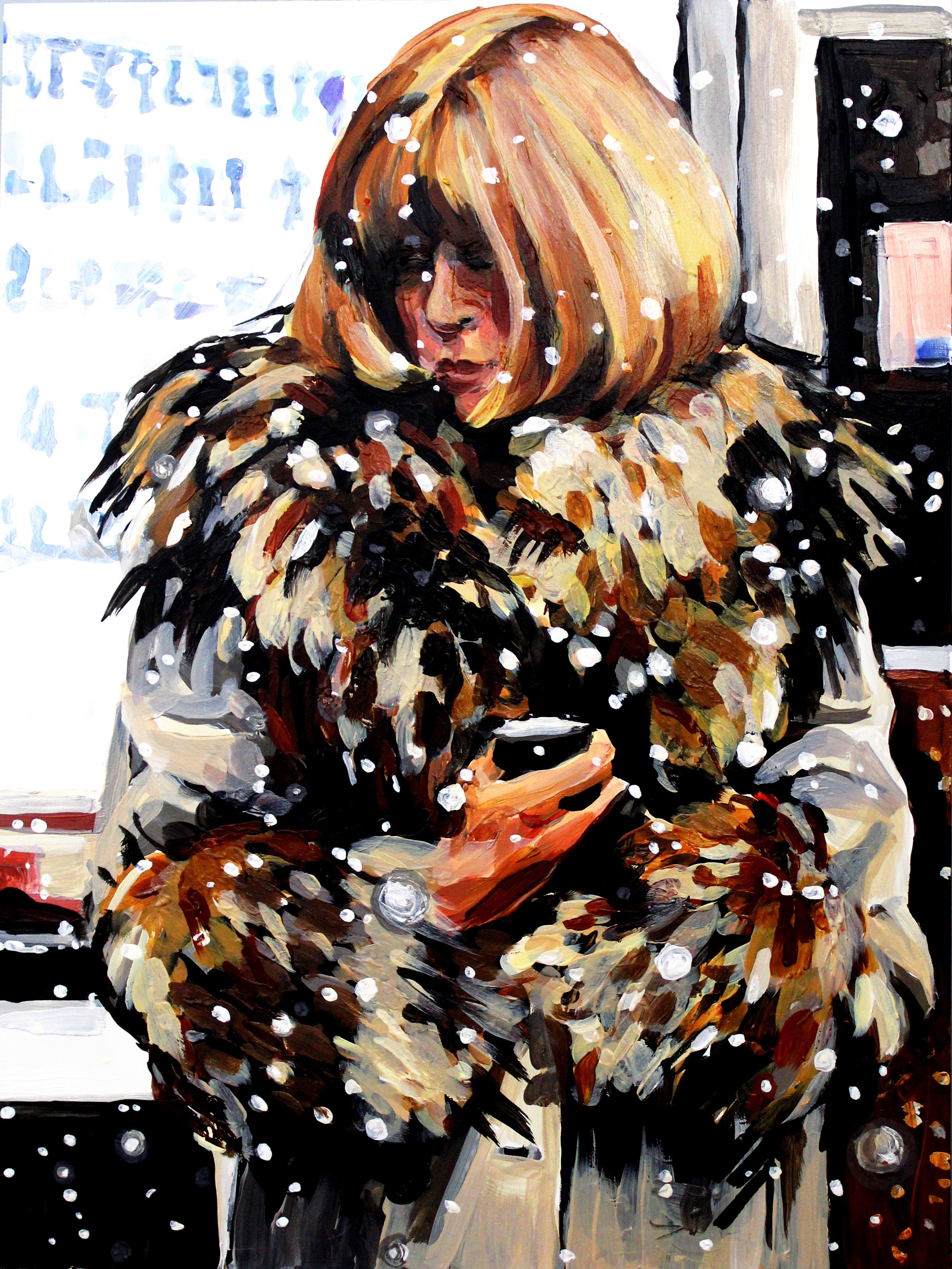 """Anna Wintour in Winter  12"""" x 16"""" acrylic on panel   SOLD"""