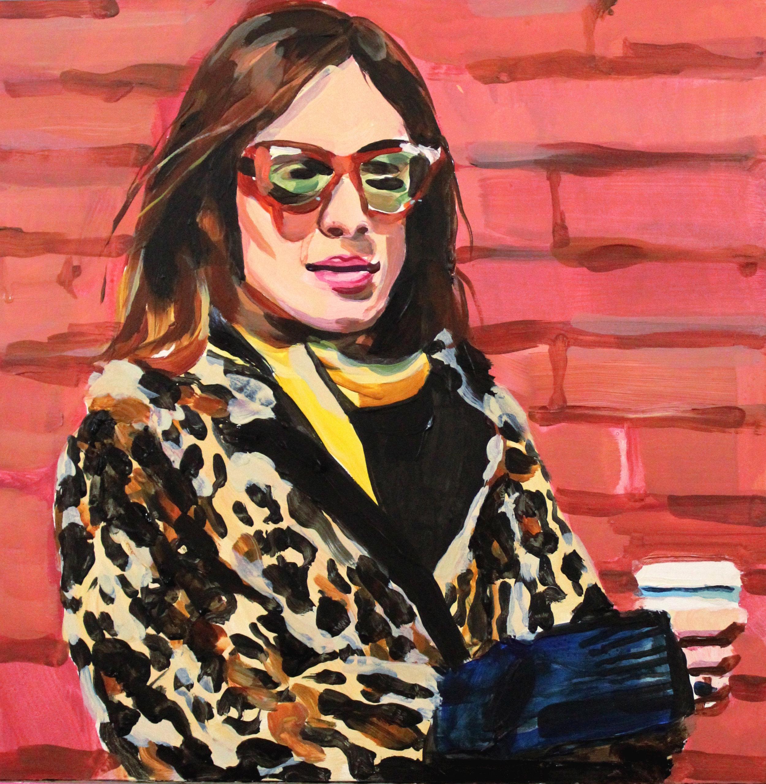 "Alexa Chung in a Leopard Coat   12"" x 12"" acrylic on panel"