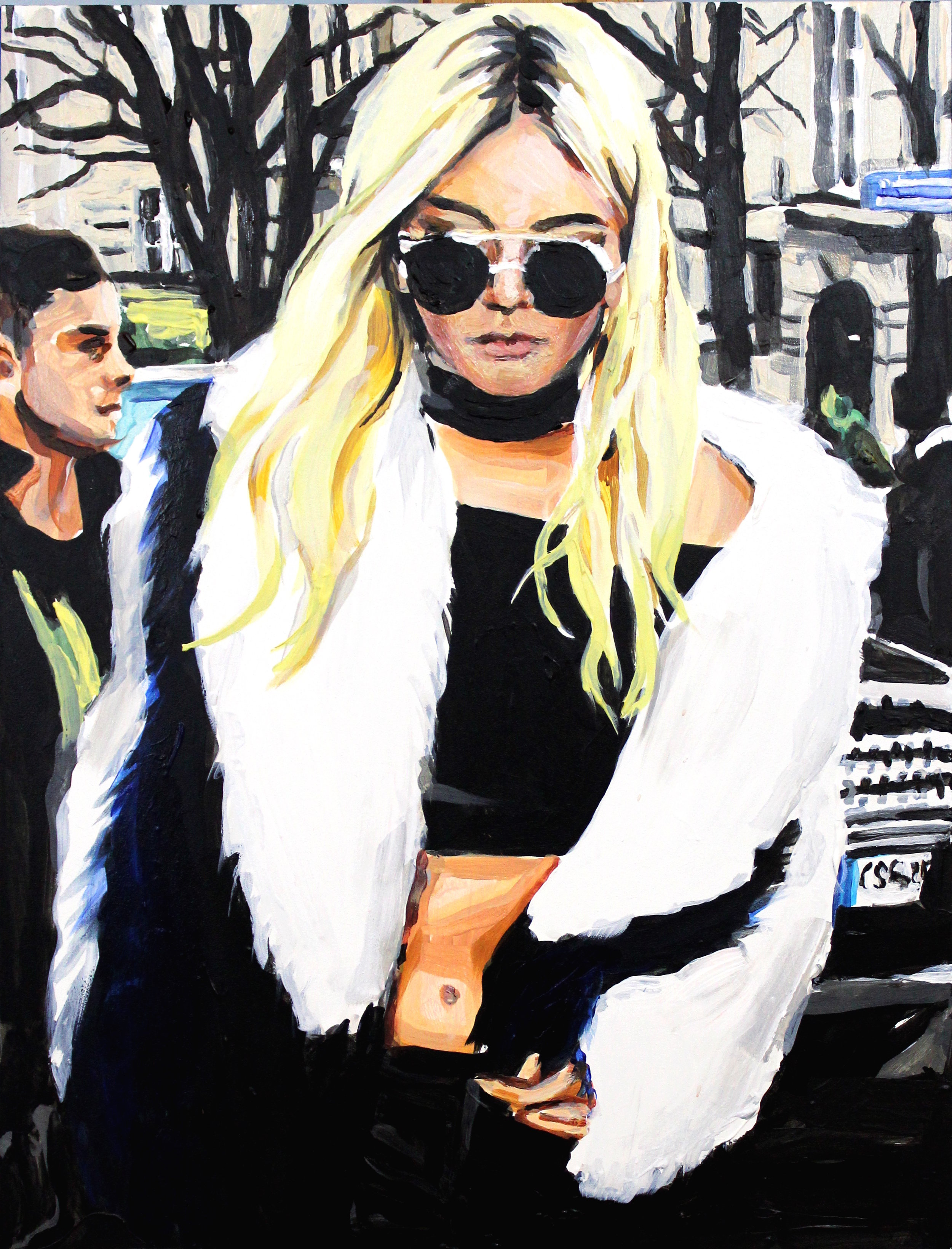 """Kendall Jenner in a Crop Top and Fur   12"""" x 16"""" acrylic on panel"""