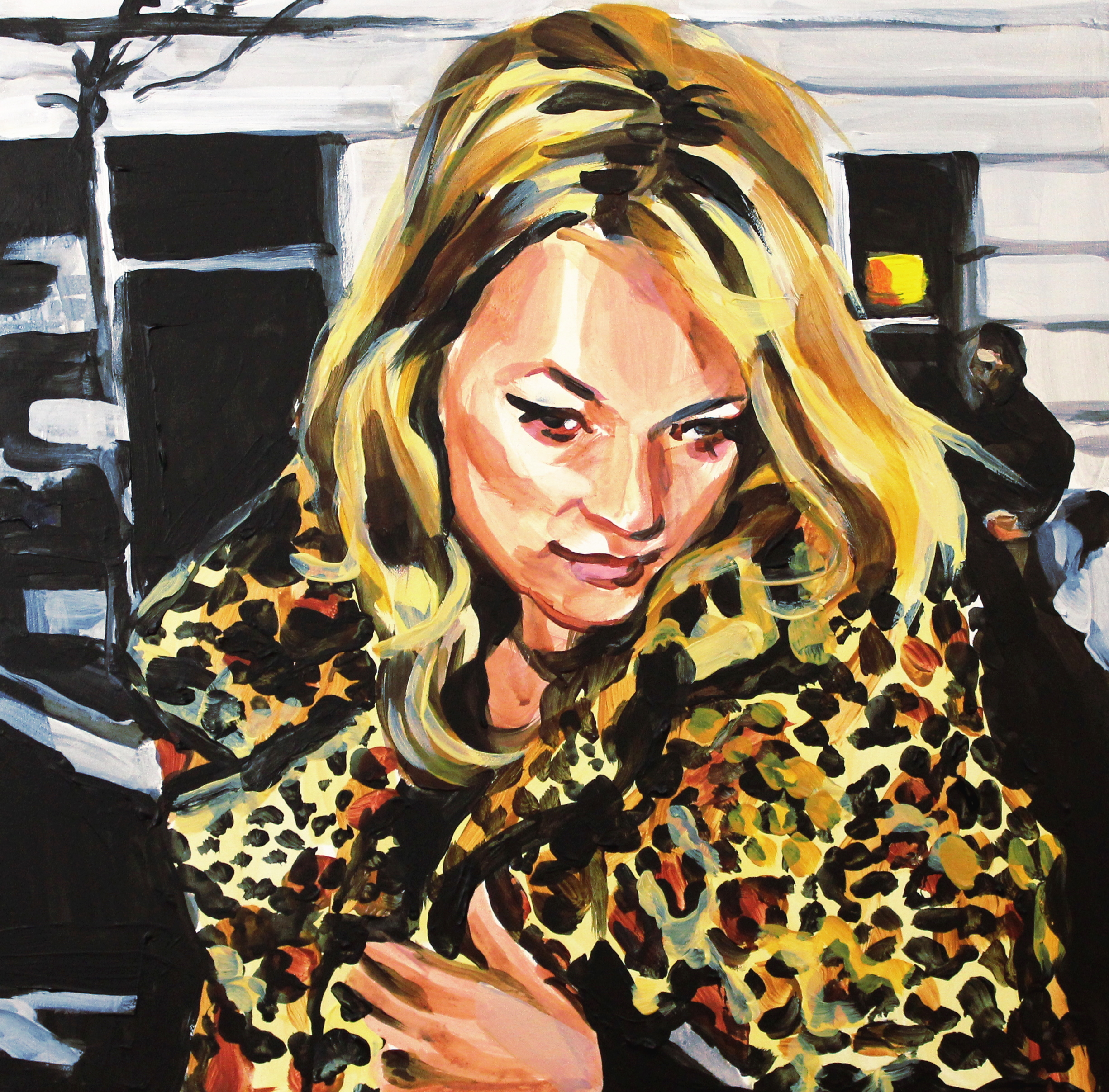"""Kate Moss in Leopard Print Fur   12"""" x 12"""" acrylic on panel   SOLD"""