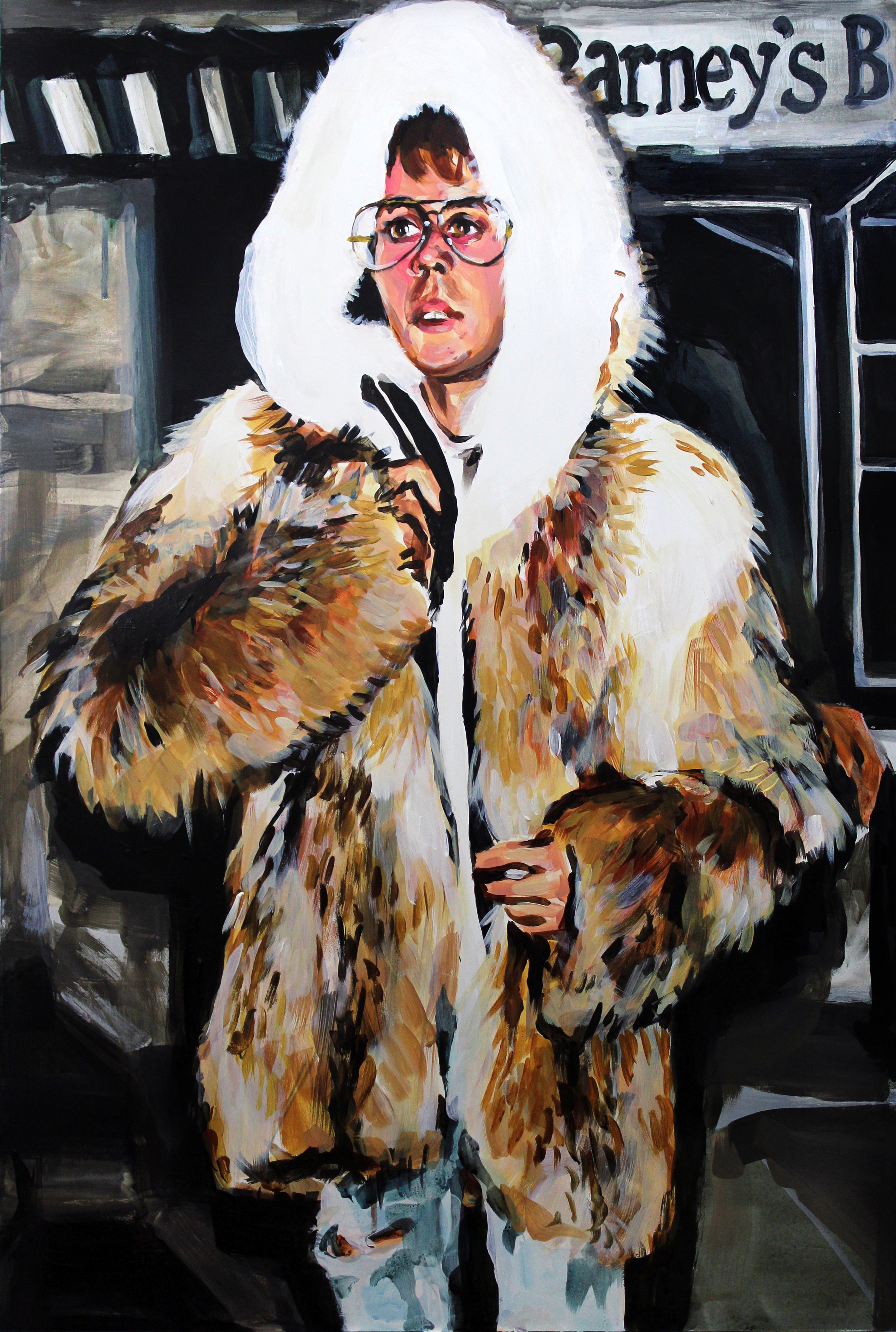 """Justin Bieber in a Fur Coat   24"""" x 36"""" acrylic on panel"""