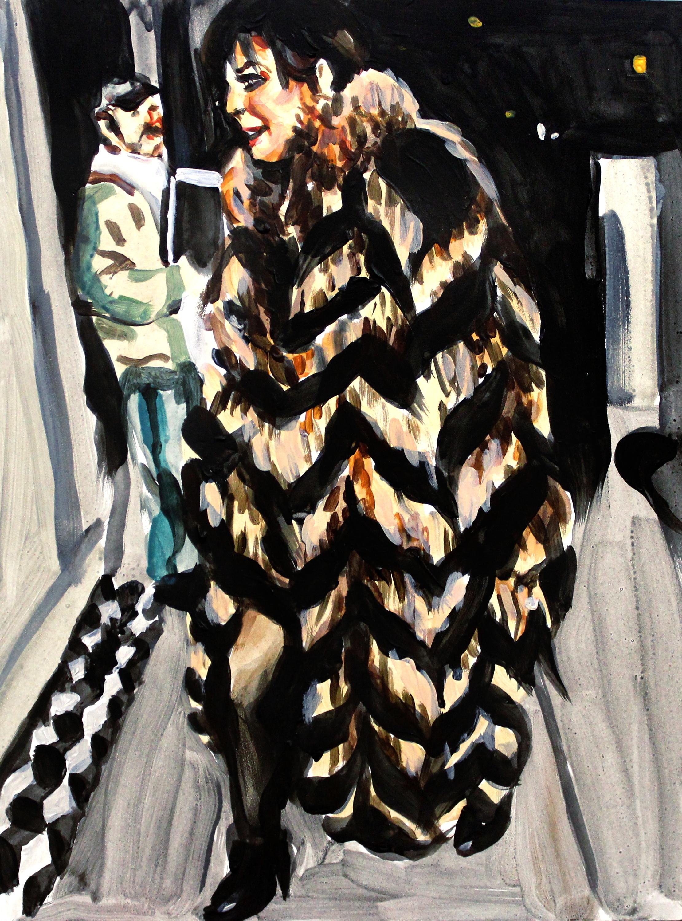 "Kris Jenner in a Striped Fur Coat   9"" x 12"" acrylic on panel"