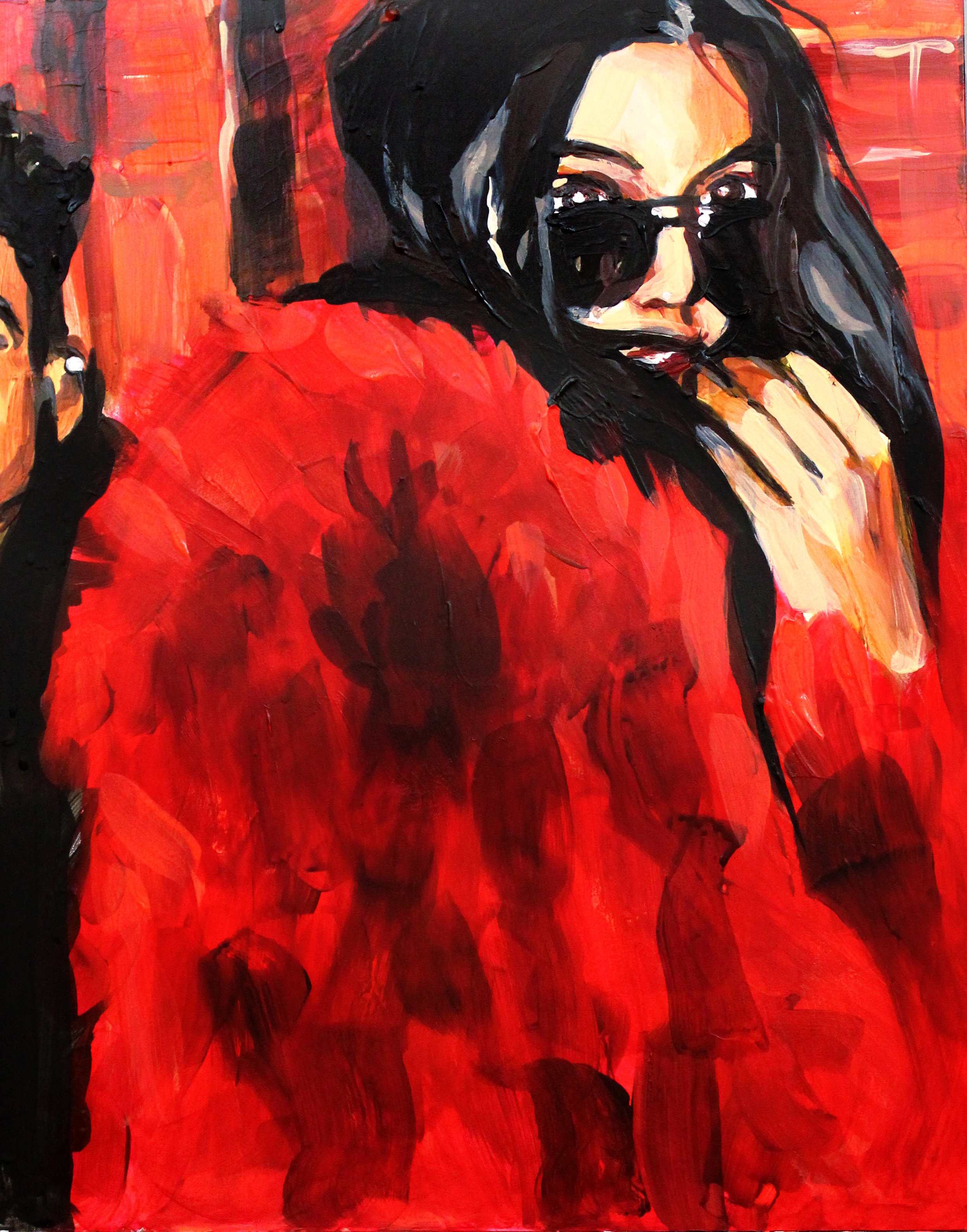 """Kendall Jenner in a Red Fur Coat    11"""" x 14"""" acrylic on panel"""