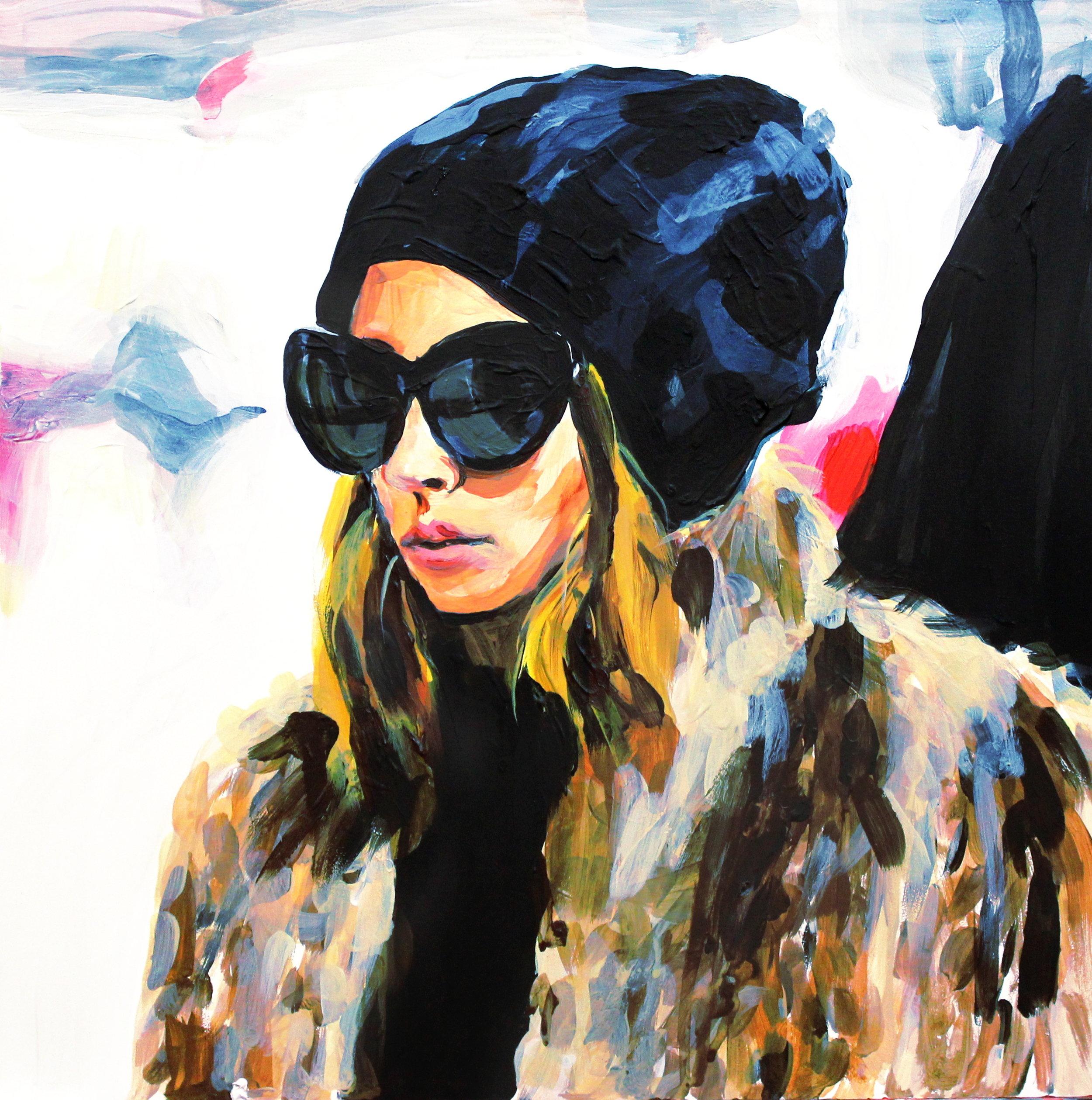"Nicole Richie in a Fur Coat   12"" x 12"" acrylic on panel"