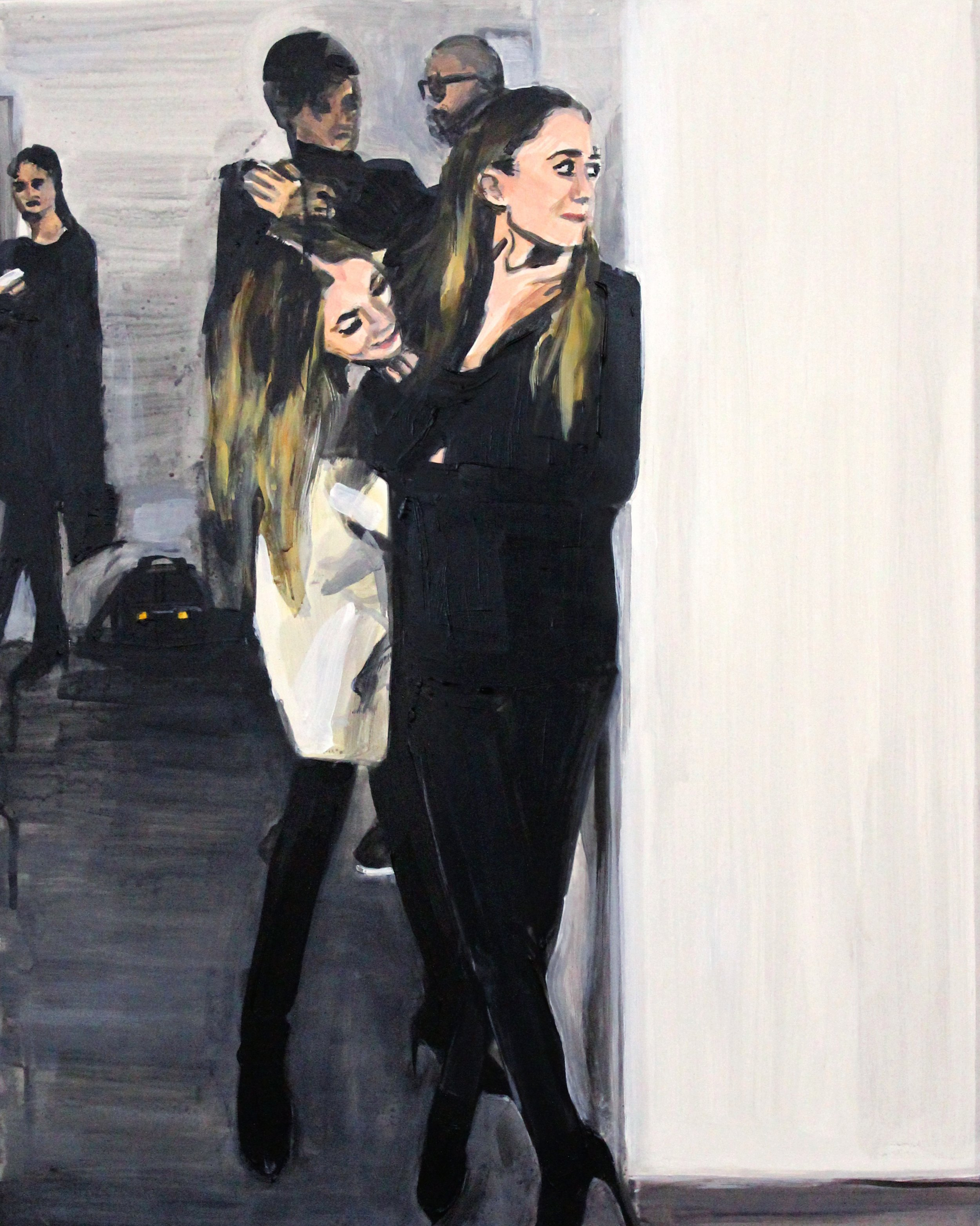 "An Olsen Twin Hiding Behind An Olsen Twin Hiding Behind a Wall  .  16"" x 20"" acrylic on panel   SOLD"