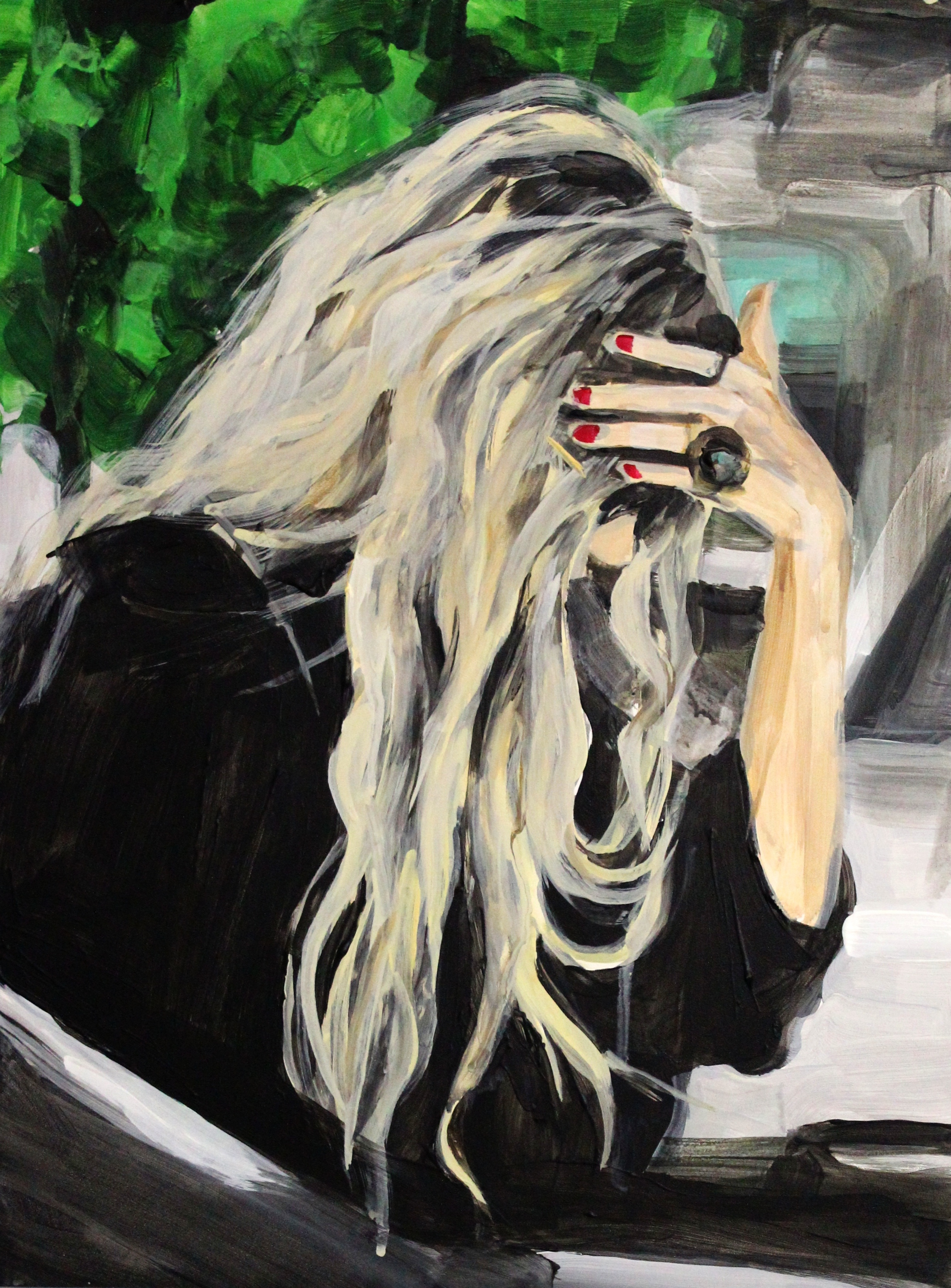"An Olsen Twin Hiding Behind Her Hand And Her Hair    16"" x 20"" acrylic on panel   SOLD"