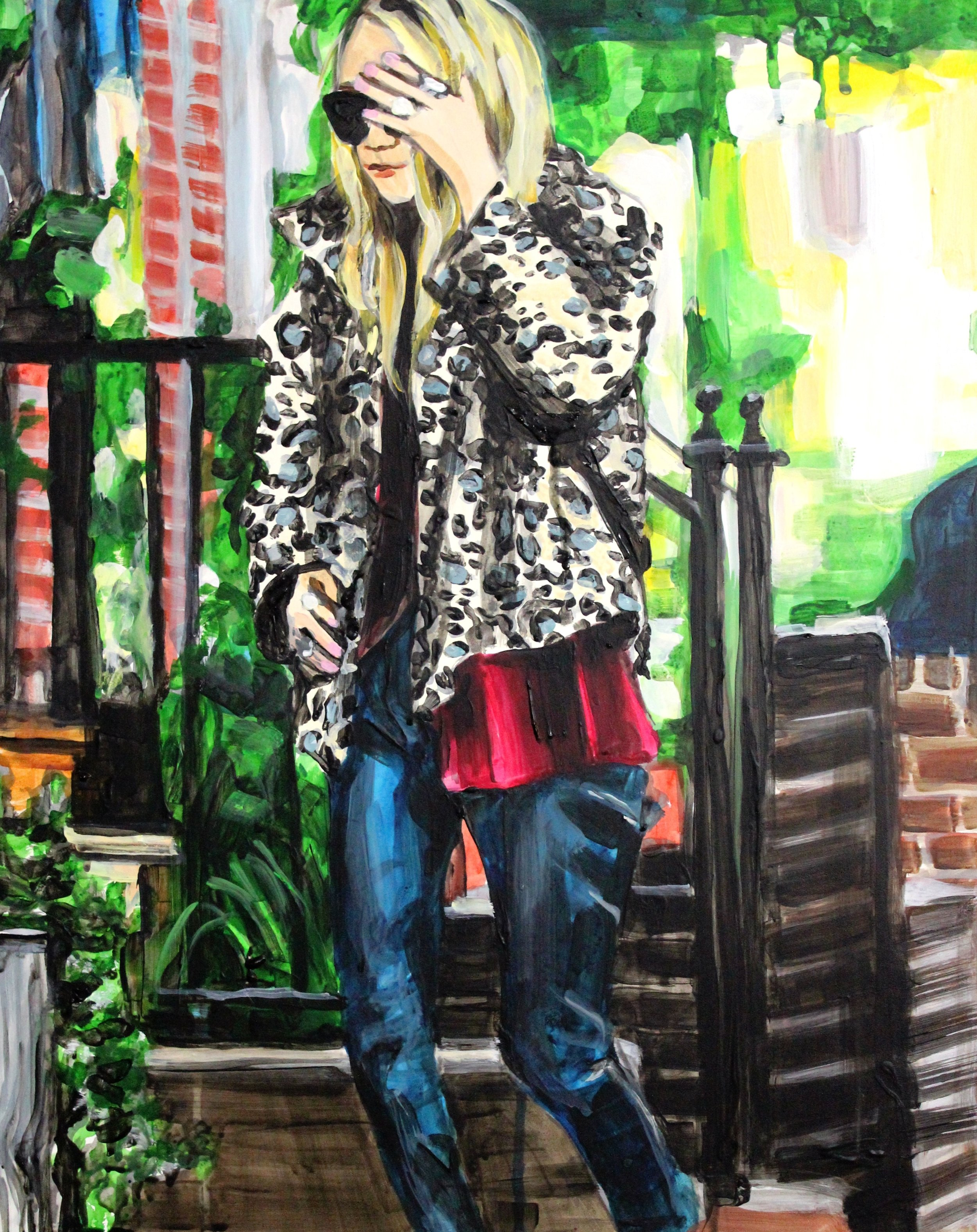 "An Olsen Twin Hiding Behind Her Hand in Sunglasses    16"" x 20"" acrylic on panel   SOLD"