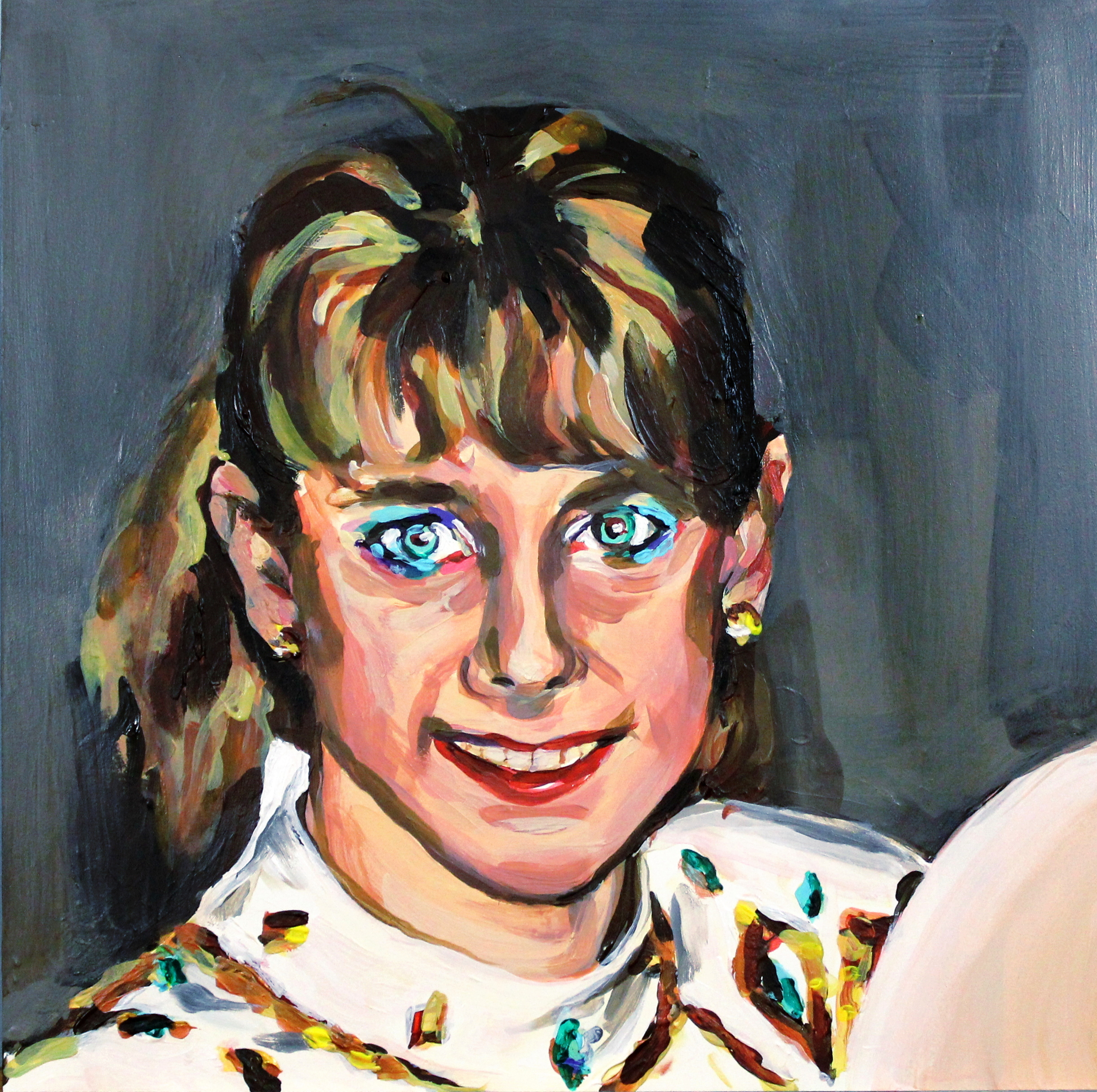 "Tonya Harding Wearing Blue Eyeliner   12"" x 12"" acrylic on panel   SOLD"