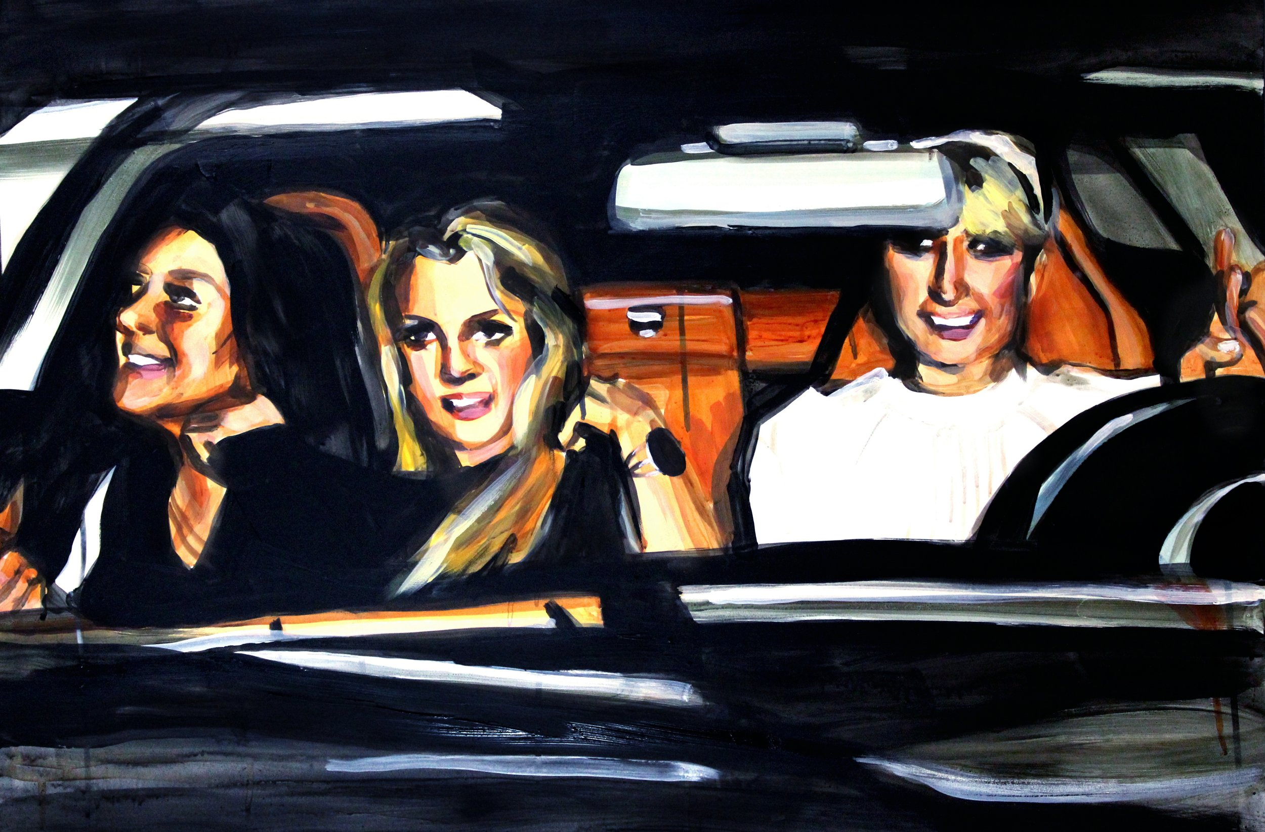 "Lindsay Lohan Britney Spears and Paris Hilton in a Car   24"" x 36"" acrylic on panel   SOLD"