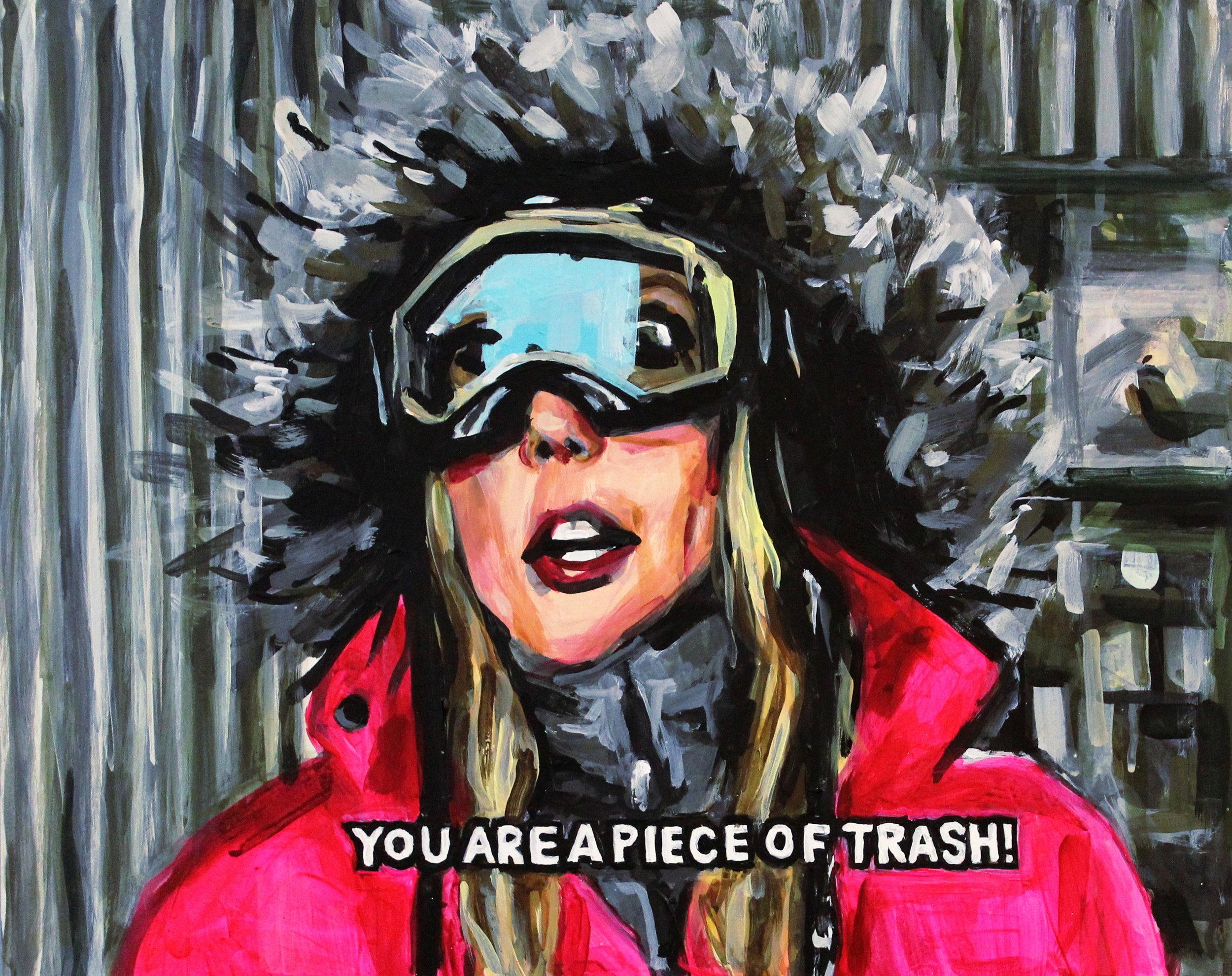 "Vicki Gunvalson Talking Trash On A Ski Trip   16"" x 20"" acrylic on panel  SOLD"